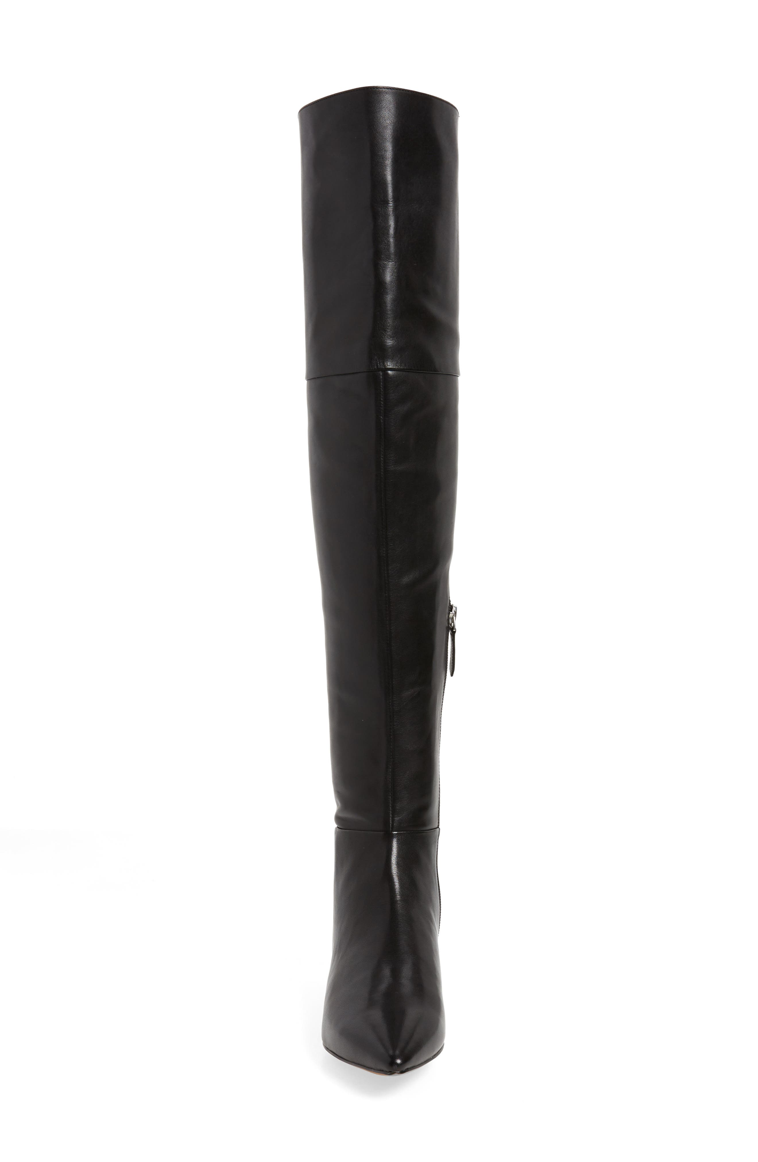 Kiki Over the Knee Boot,                             Alternate thumbnail 4, color,                             Black Leather