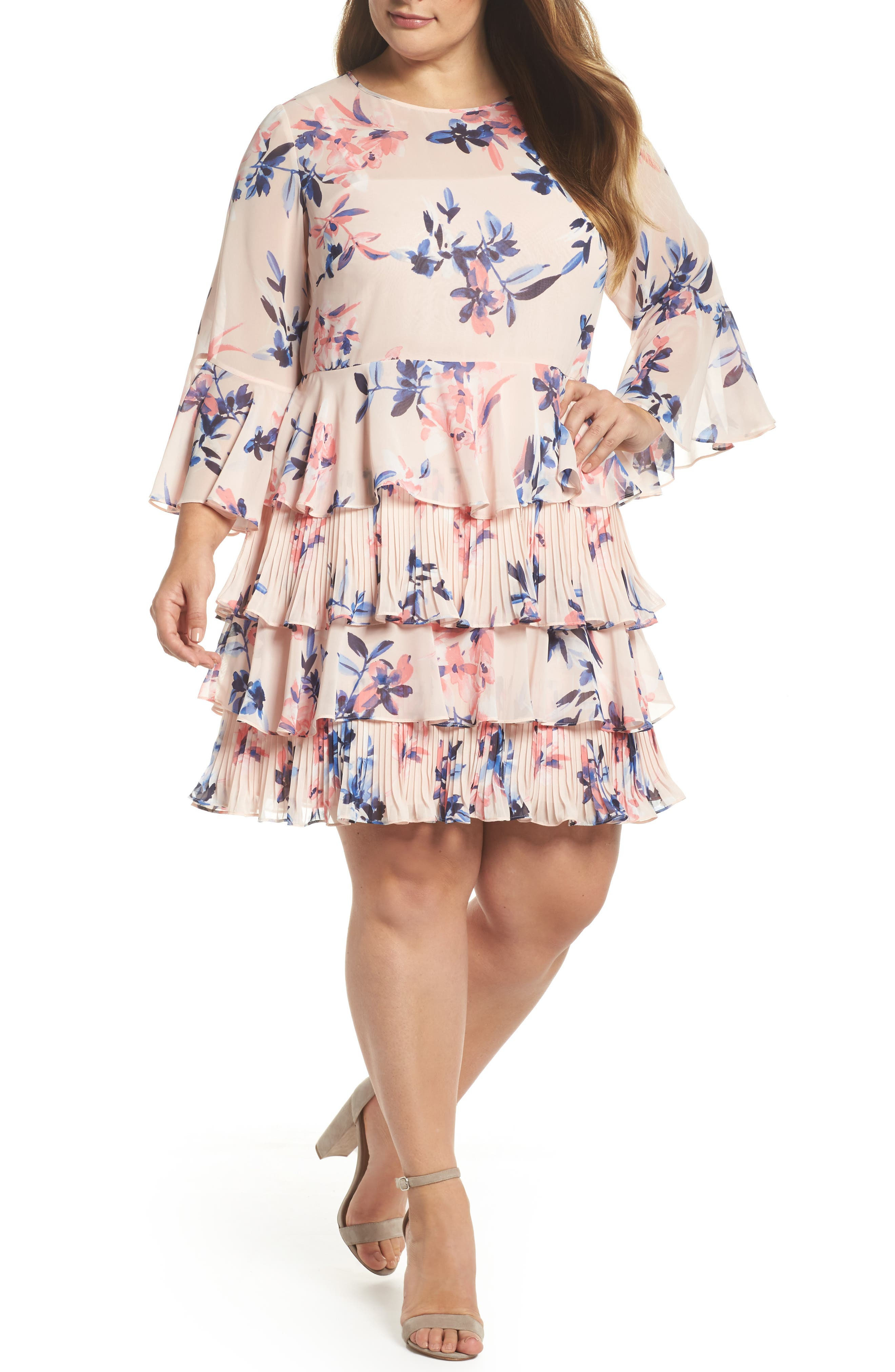 Bell Sleeve Tiered Ruffle Dress,                         Main,                         color, Blush