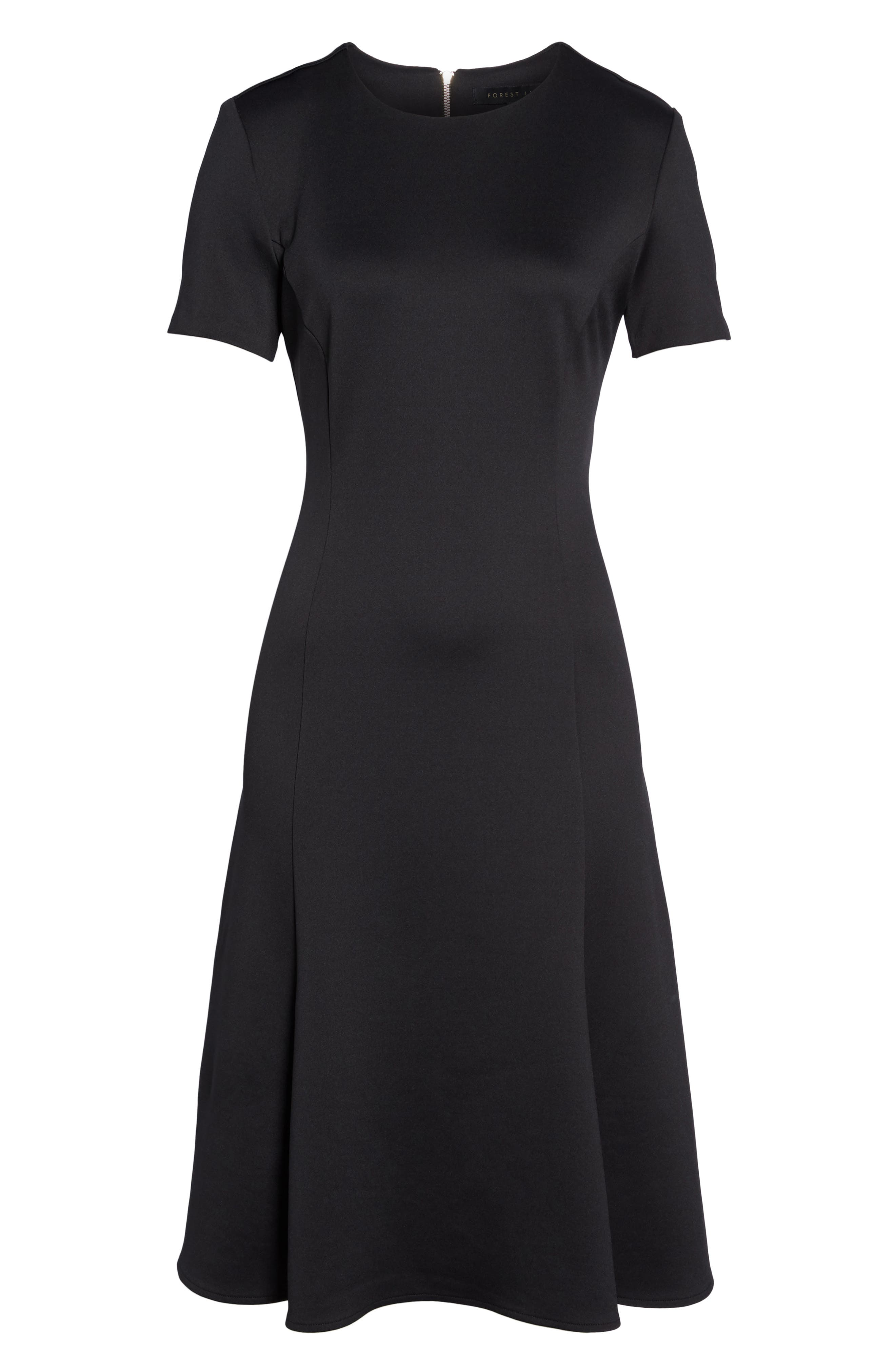 Midi Bell Dress,                             Alternate thumbnail 6, color,                             Black