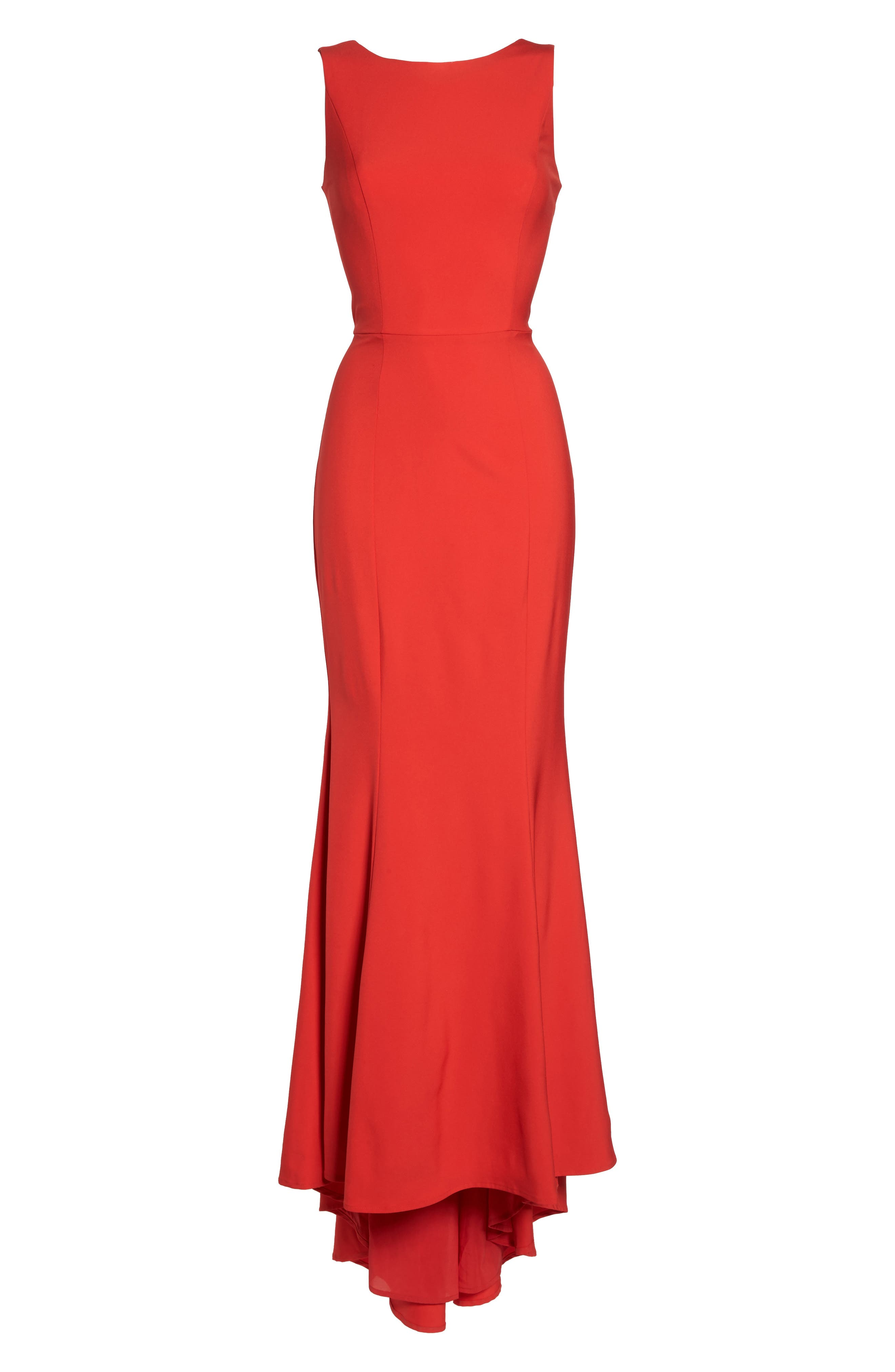 Jemima Ruffle Back Mermaid Gown,                             Alternate thumbnail 6, color,                             Red