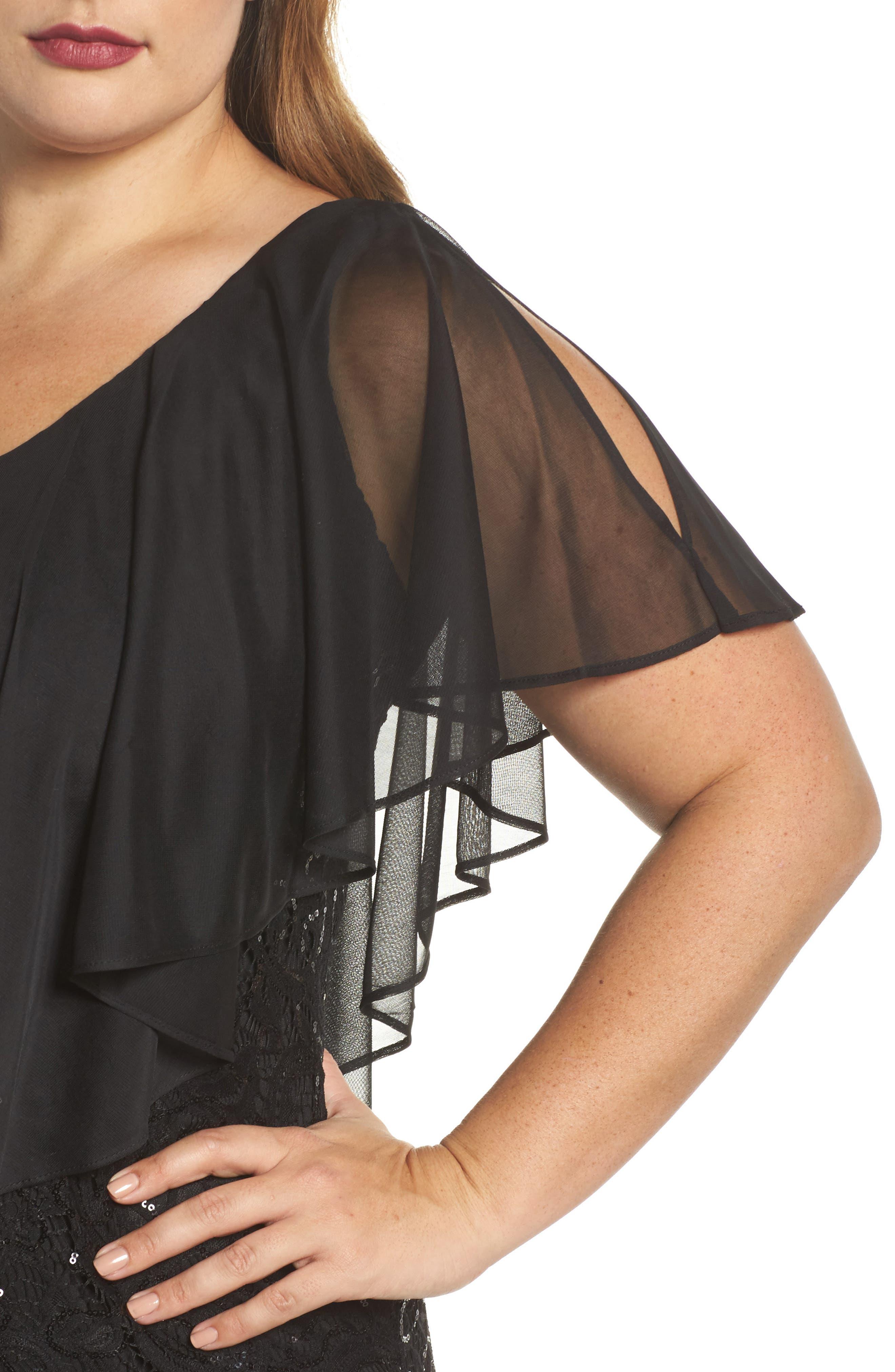 Capelet Sequin Lace A-Line Gown,                             Alternate thumbnail 4, color,                             Black