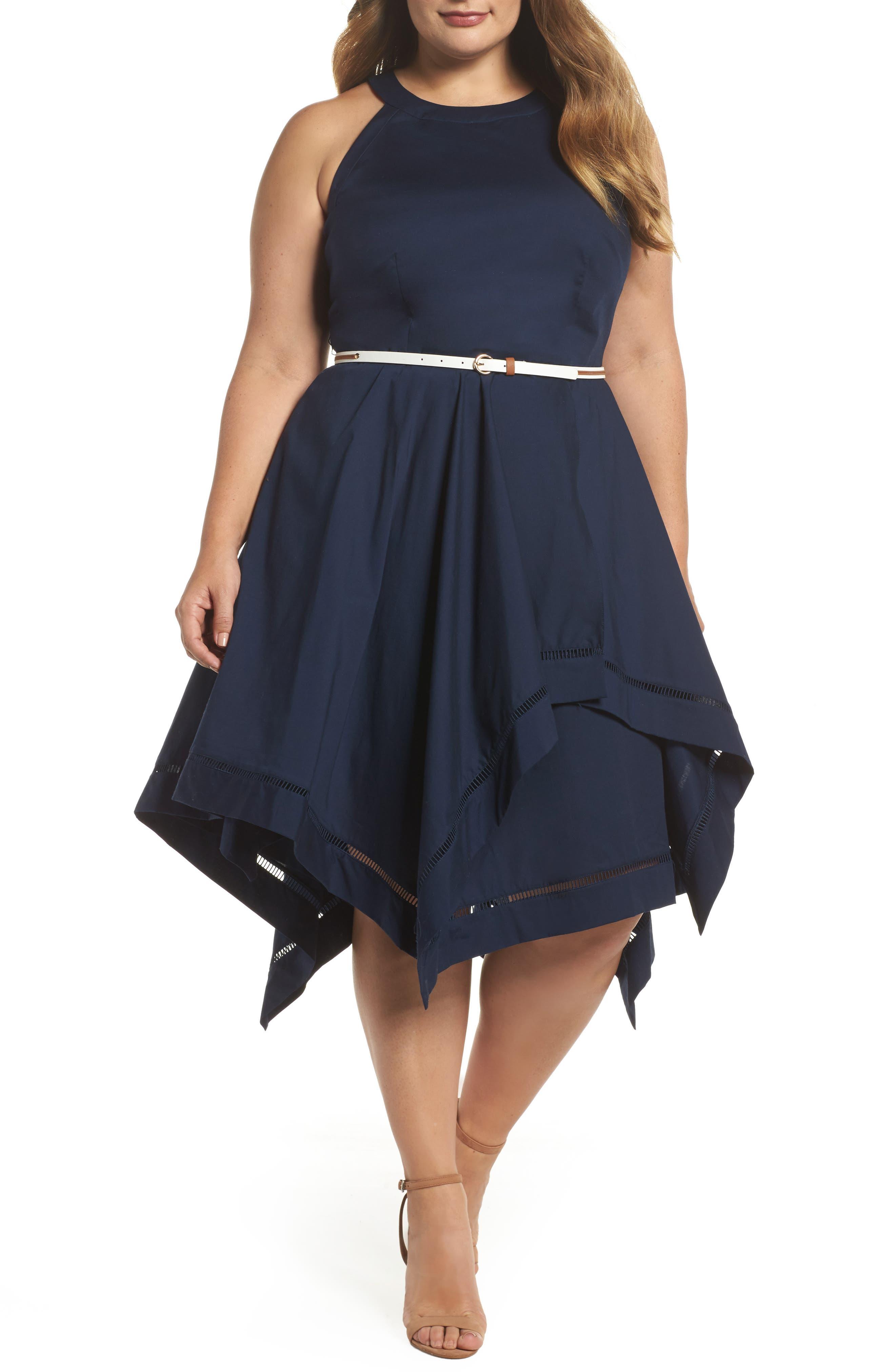 Handkerchief Hem Fit & Flare Dress,                         Main,                         color, Navy