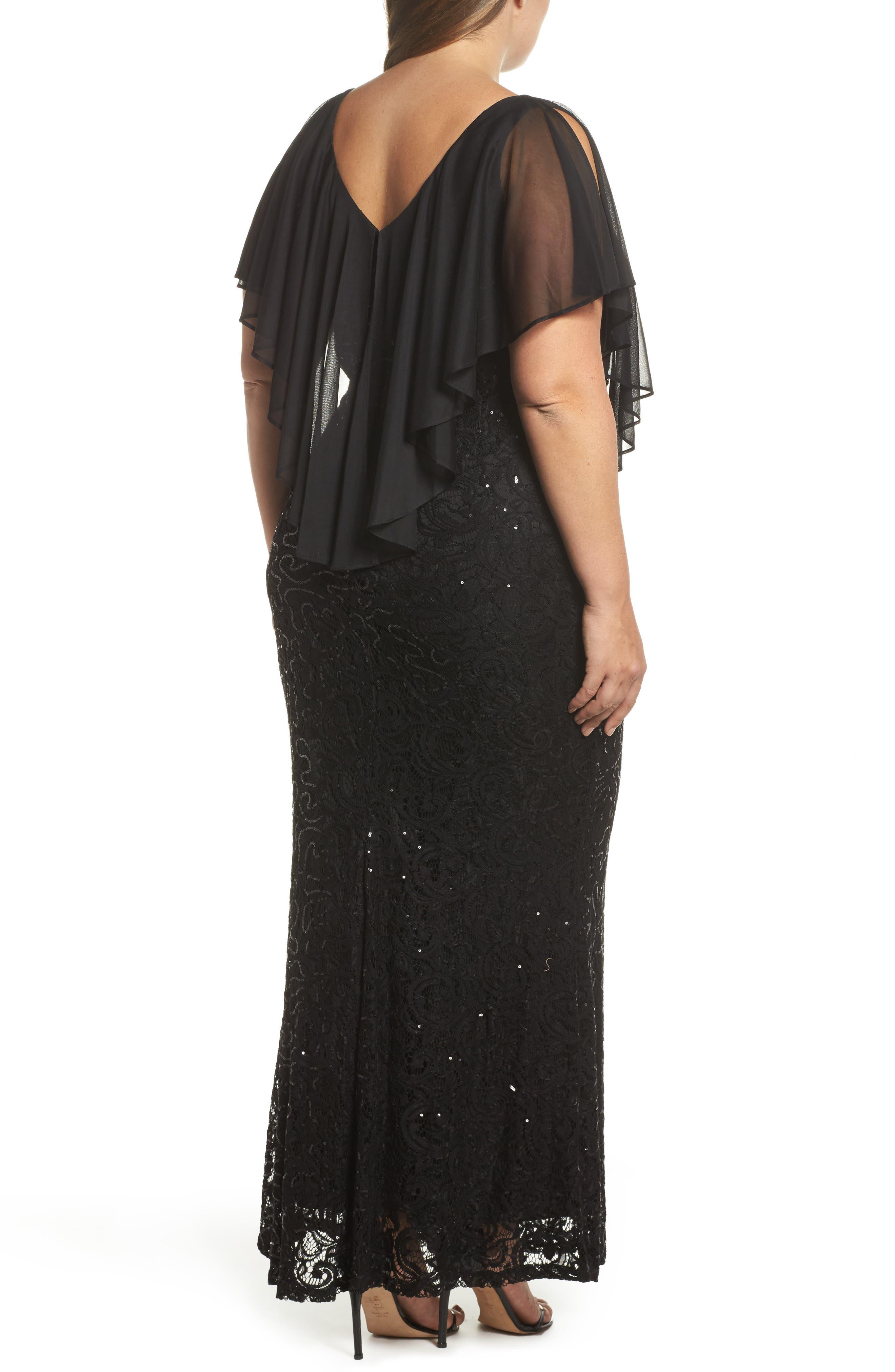 Capelet Sequin Lace A-Line Gown,                             Alternate thumbnail 2, color,                             Black
