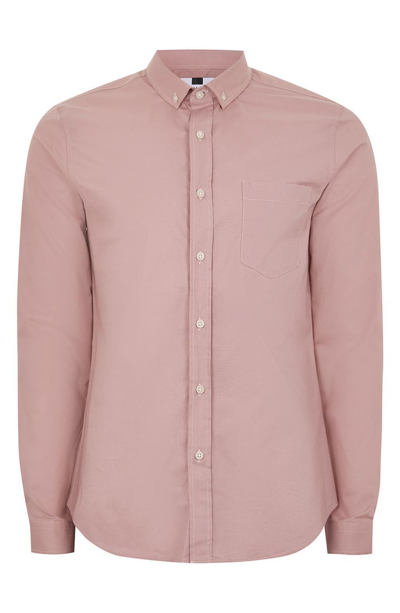 Muscle Fit Oxford Shirt,                             Alternate thumbnail 4, color,                             Pink