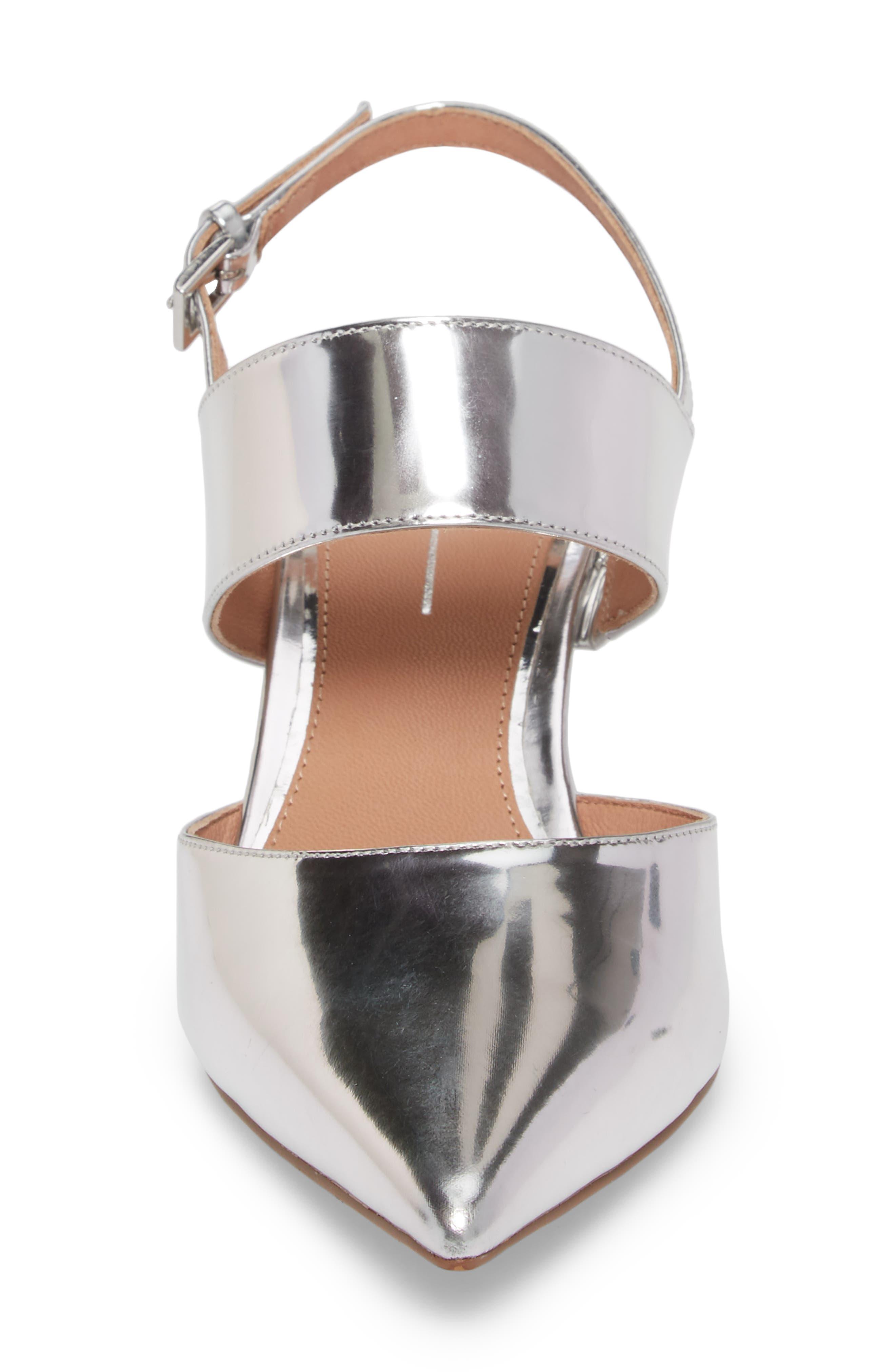 Cyndi Slingback Pump,                             Alternate thumbnail 4, color,                             Silver Leather