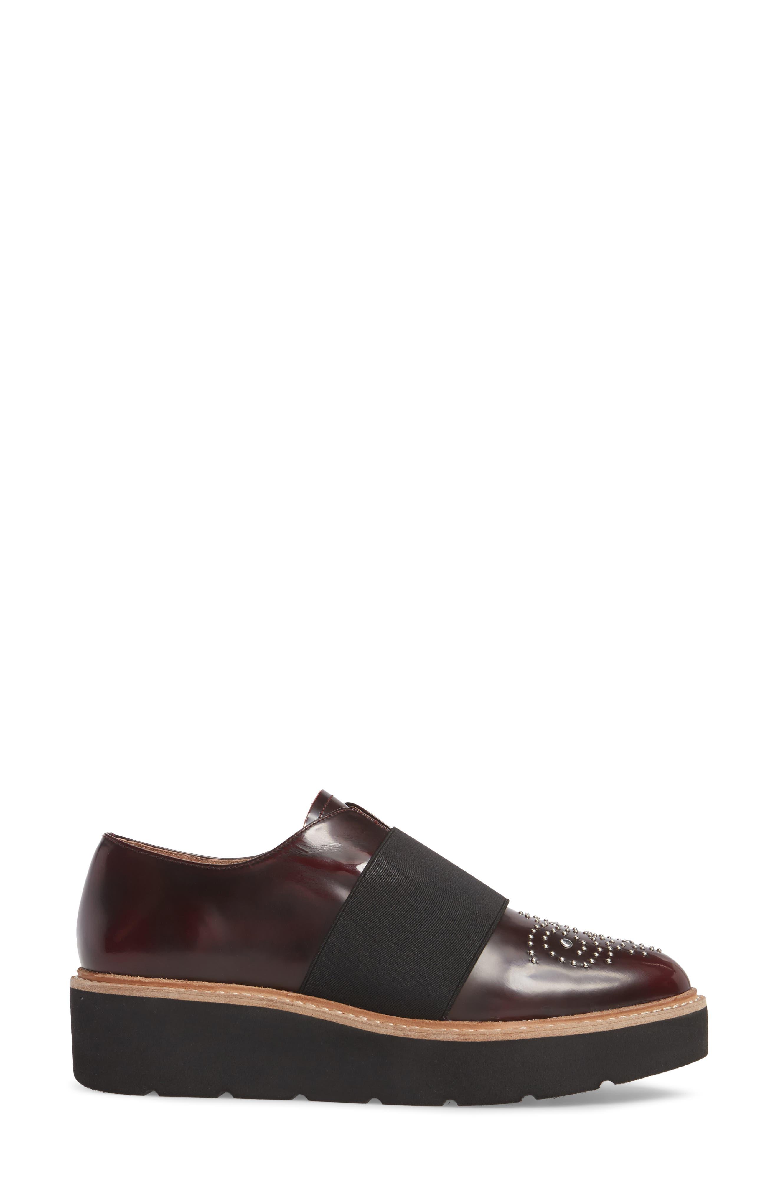 Jenna Platform Loafer,                             Alternate thumbnail 3, color,                             Burgundy Leather