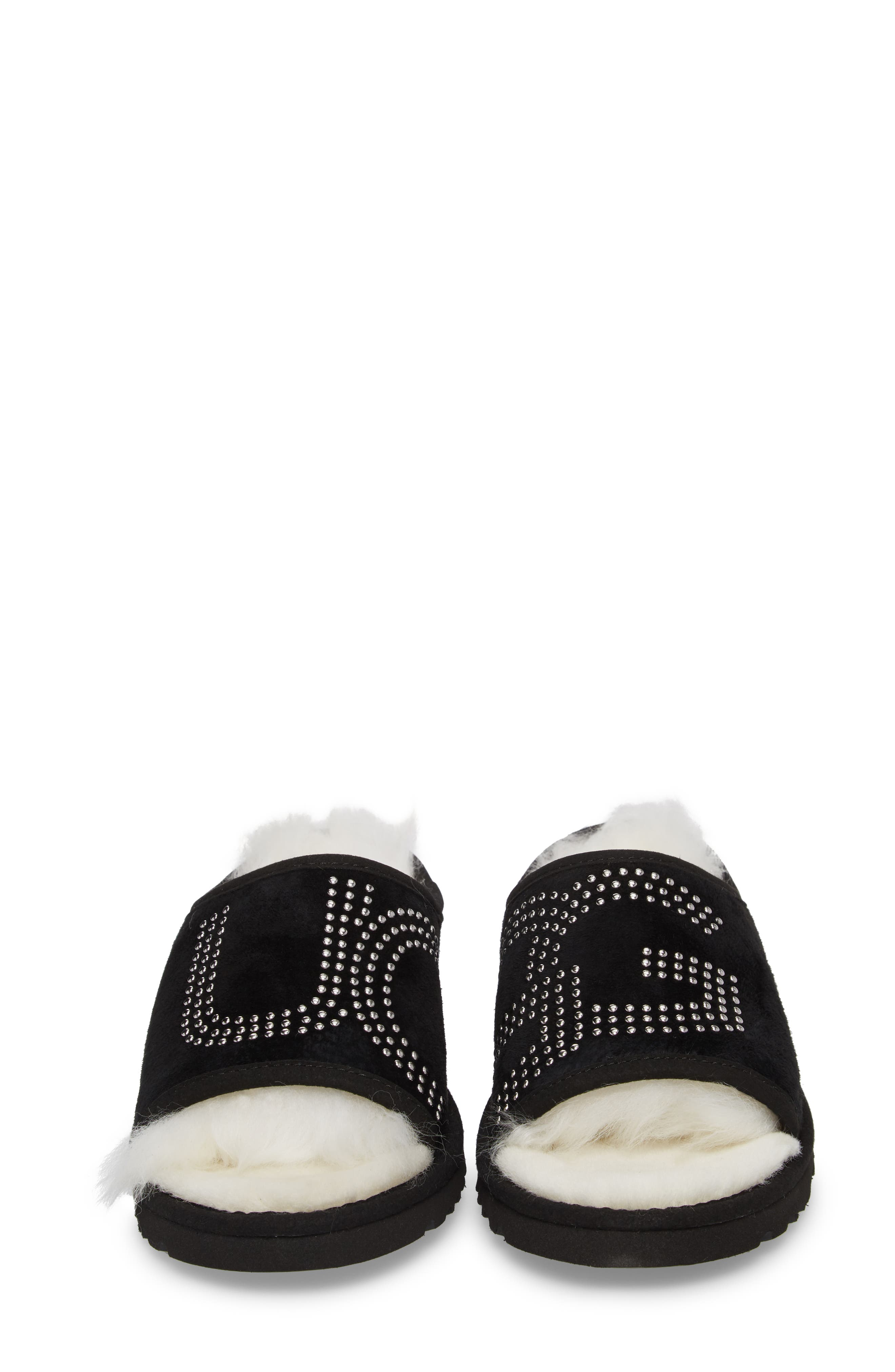 Logo Stud Slide Slipper,                             Alternate thumbnail 4, color,                             Black Suede