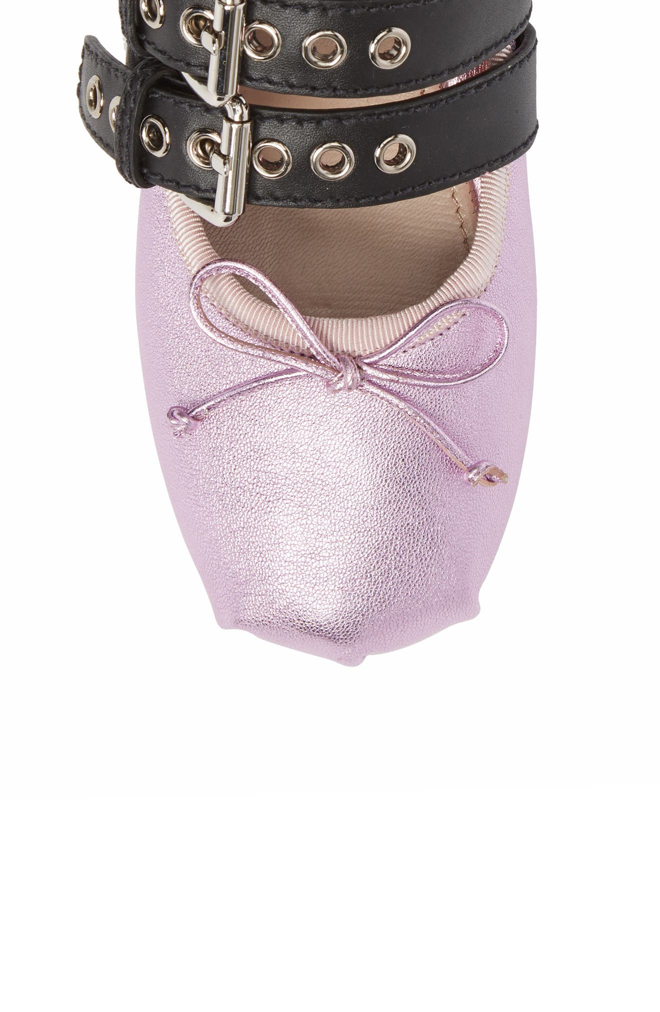 Lace-Up Ballerina Flat,                             Alternate thumbnail 5, color,                             Metallic Pink Leather