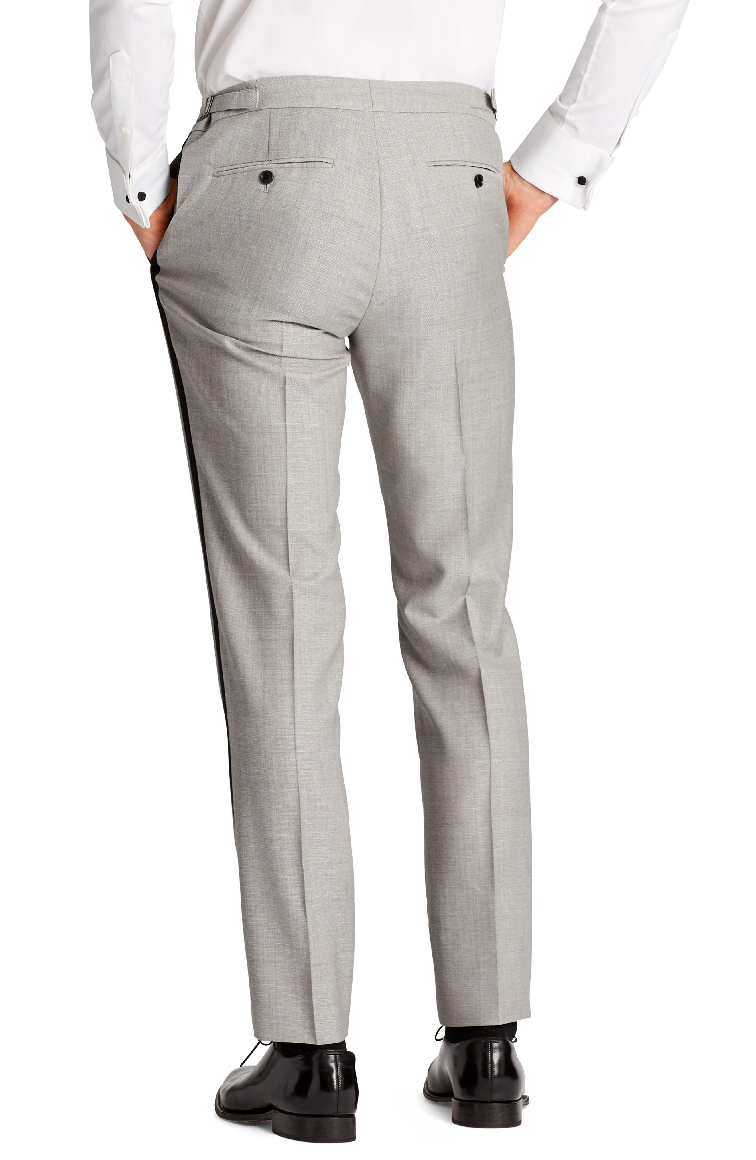 Capstone Flat Front Tuxedo Trousers,                             Alternate thumbnail 2, color,                             Pearl Grey