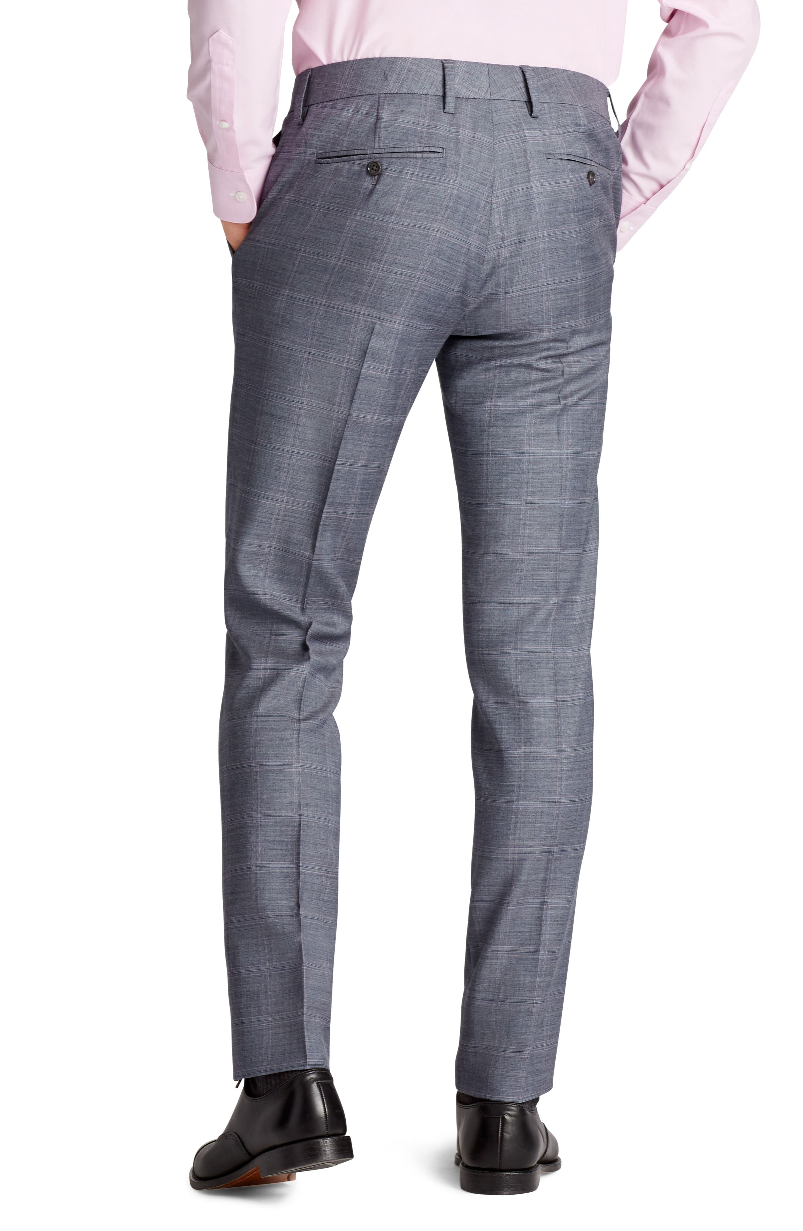 Jetsetter Flat Front Stretch Plaid Wool Trousers,                             Alternate thumbnail 2, color,                             Grey Plaid