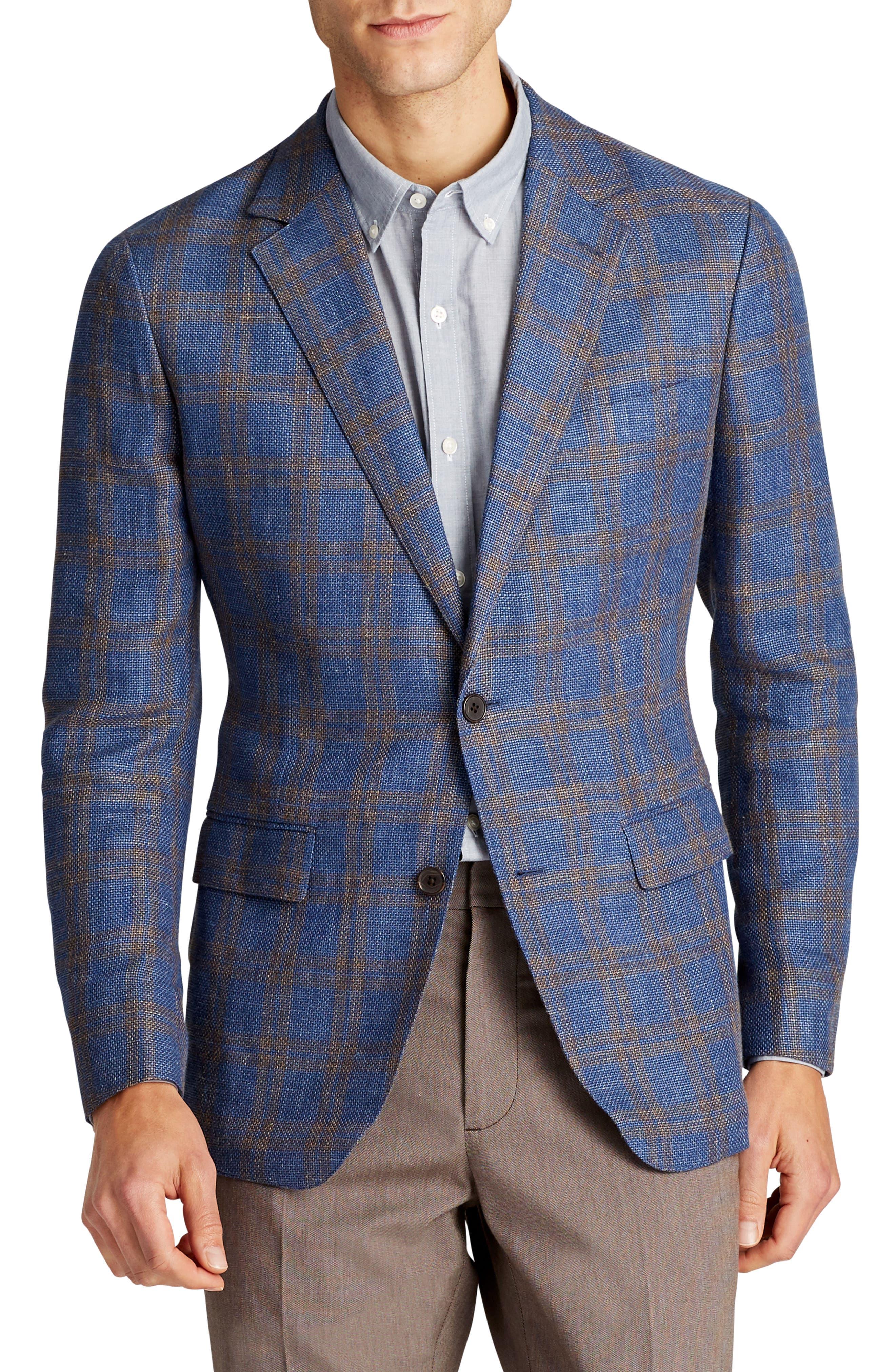Slim Fit Plaid Linen Blend Unconstructed Blazer,                         Main,                         color, Gold Blue Plaid