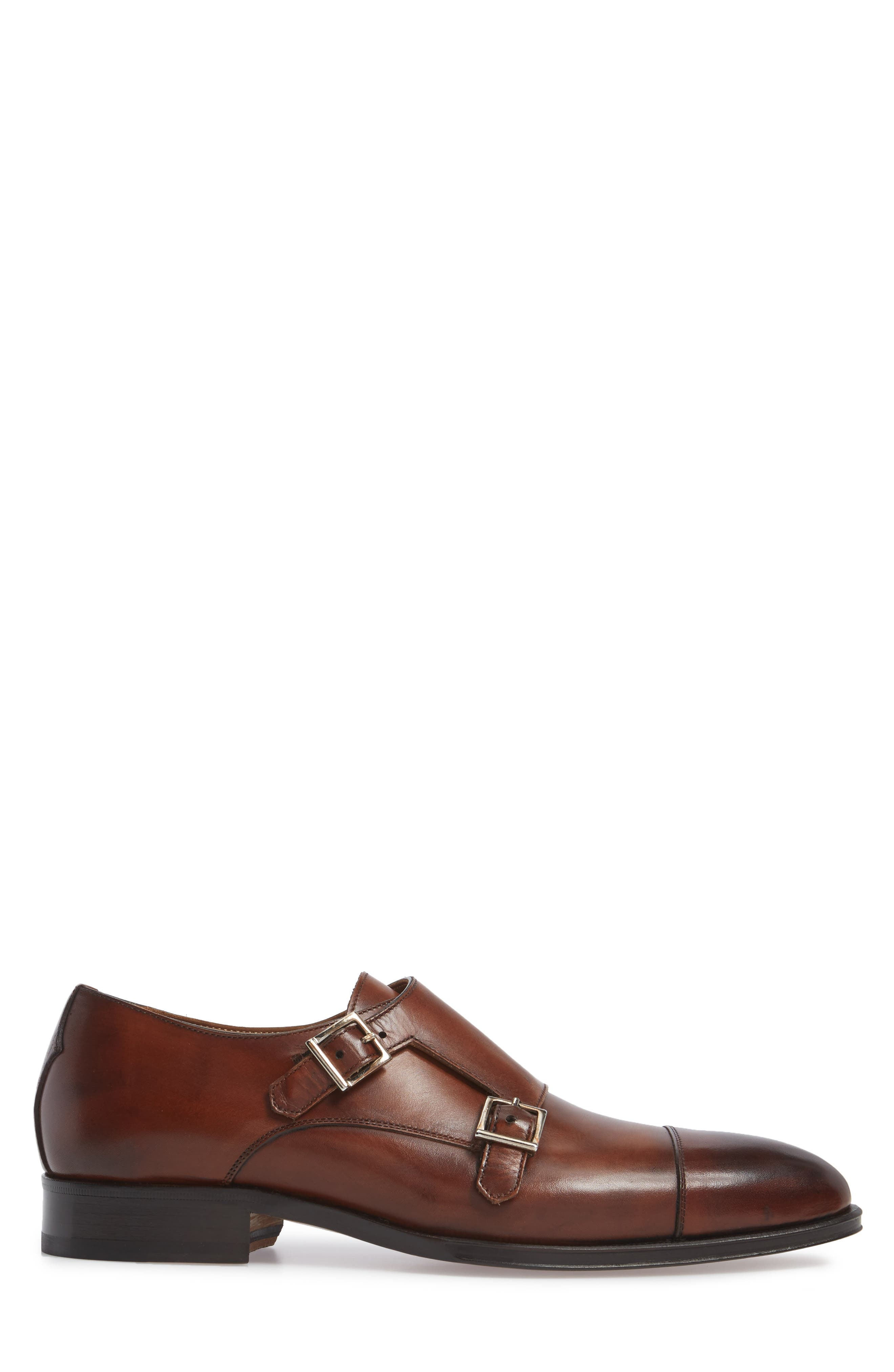 Gallo Bianco Double Monk Strap Shoe,                             Alternate thumbnail 3, color,                             Marble Brown