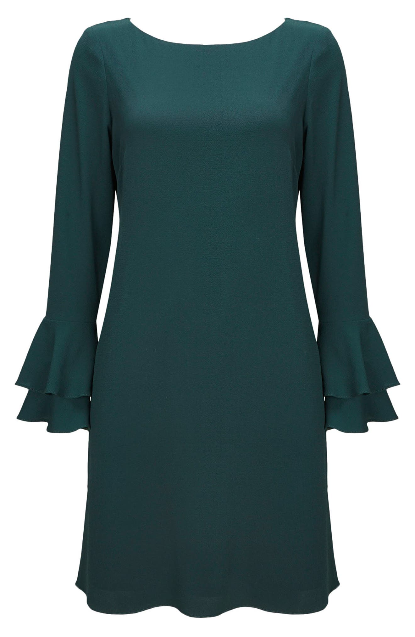 Double Bell Sleeve Shift Dress,                             Alternate thumbnail 5, color,                             Green