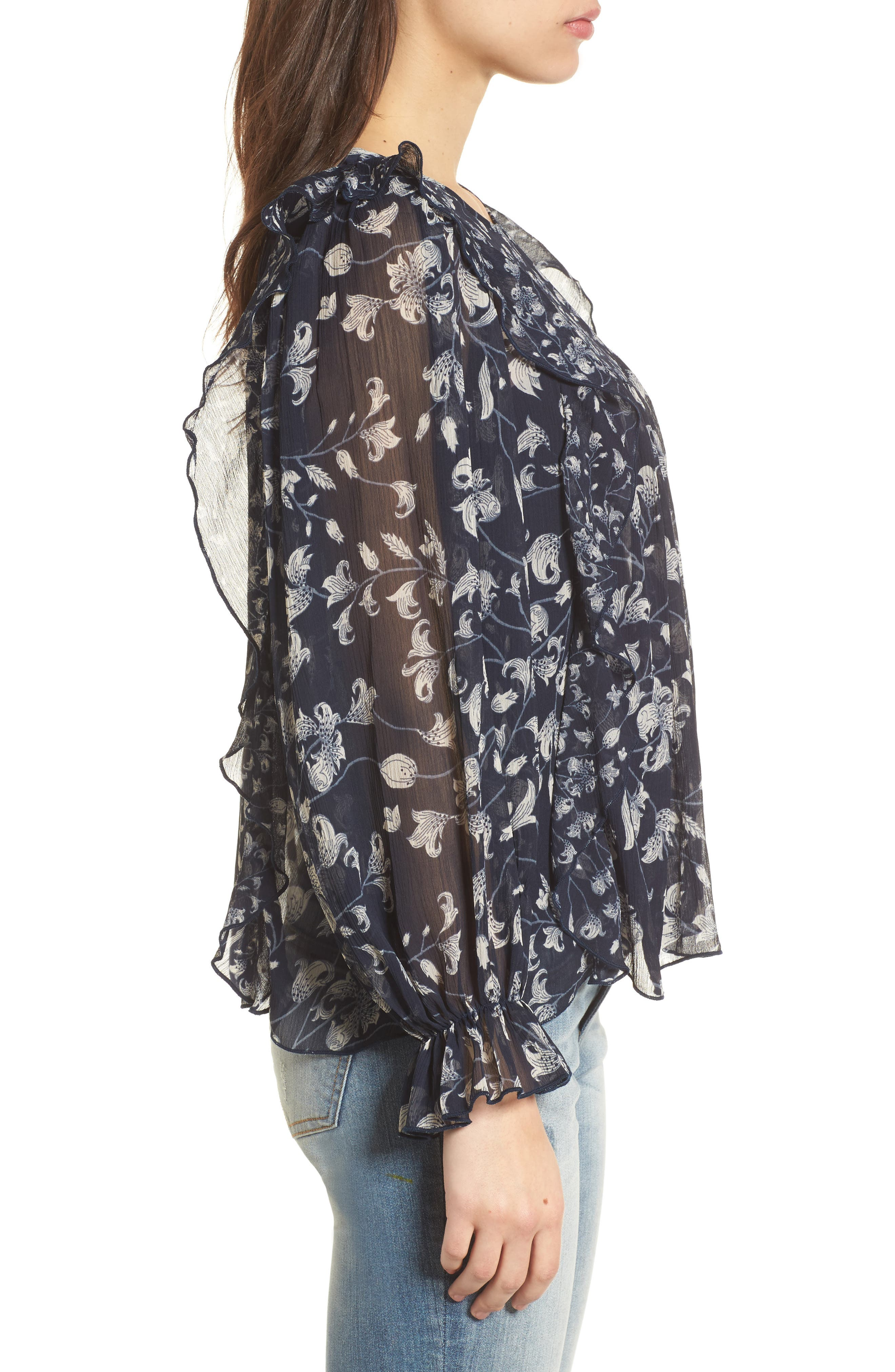 Ruffled Floral Top,                             Alternate thumbnail 3, color,                             Blue Multi