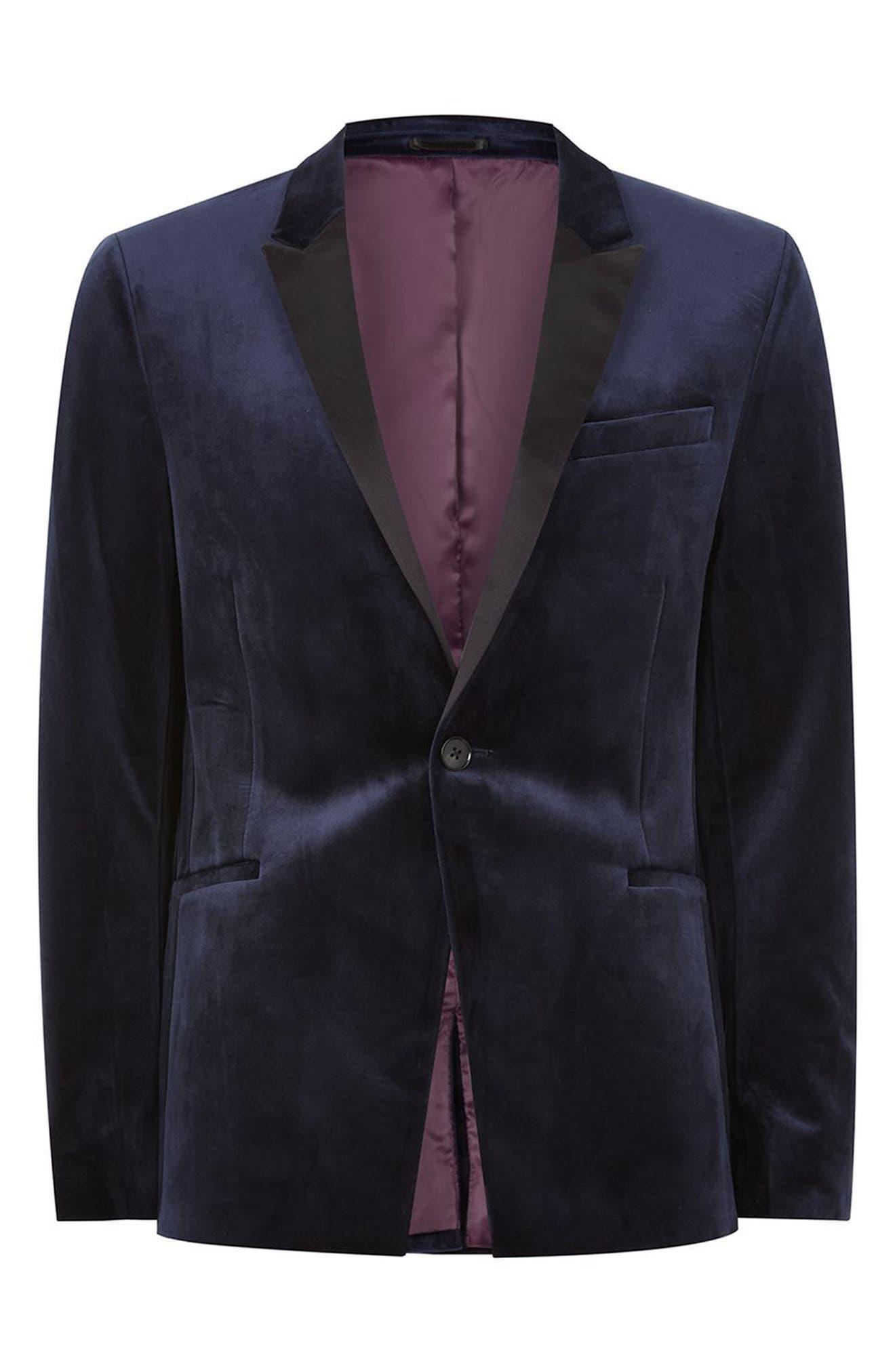 Skinny Fit Velvet Tuxedo Jacket,                             Alternate thumbnail 4, color,                             Dark Blue