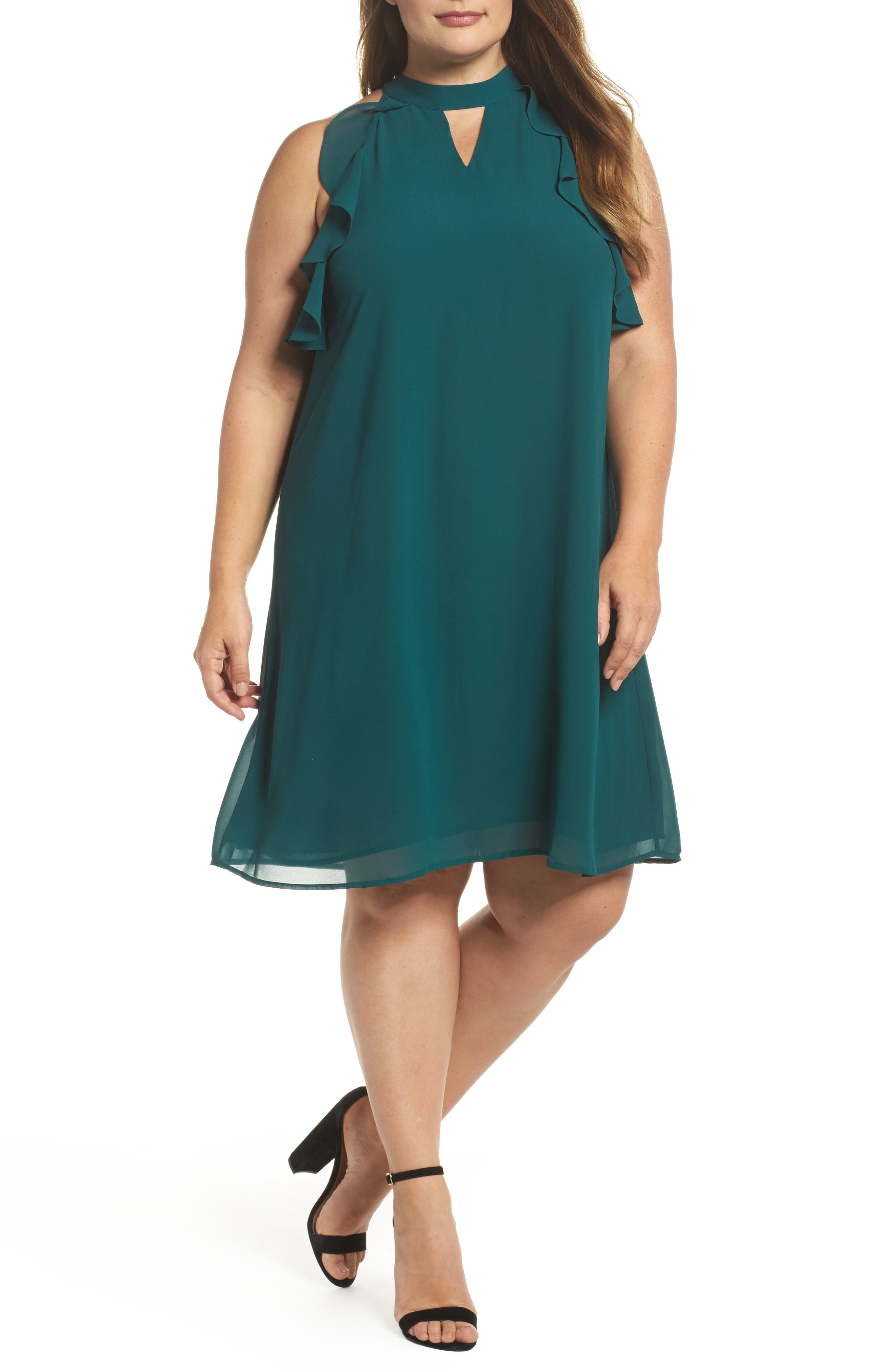 Halter Ruffle Trapeze Dress,                             Main thumbnail 1, color,                             Forest Green