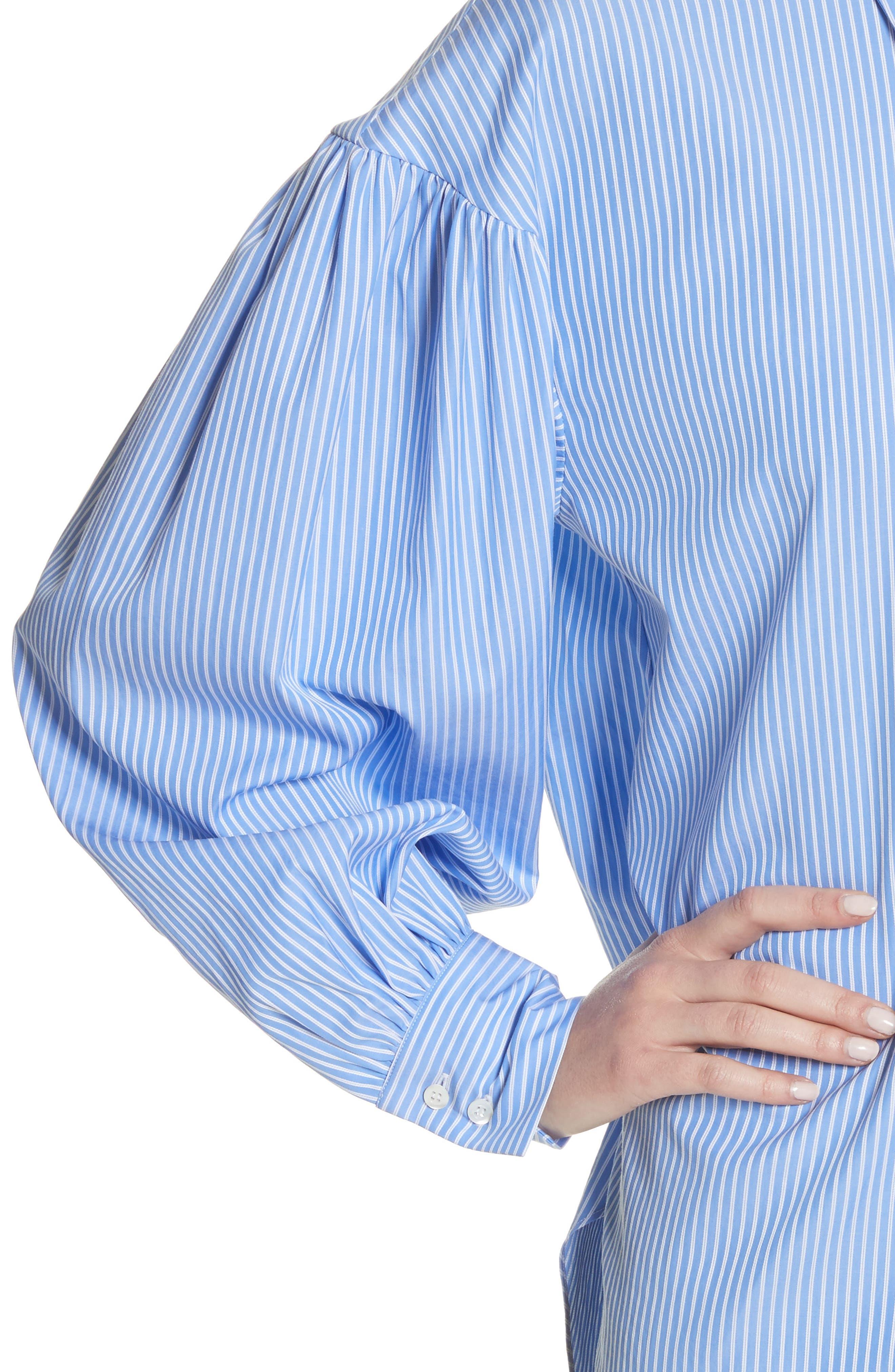 Stripe Puff Sleeve Shirt,                             Alternate thumbnail 4, color,                             Blue Stripe