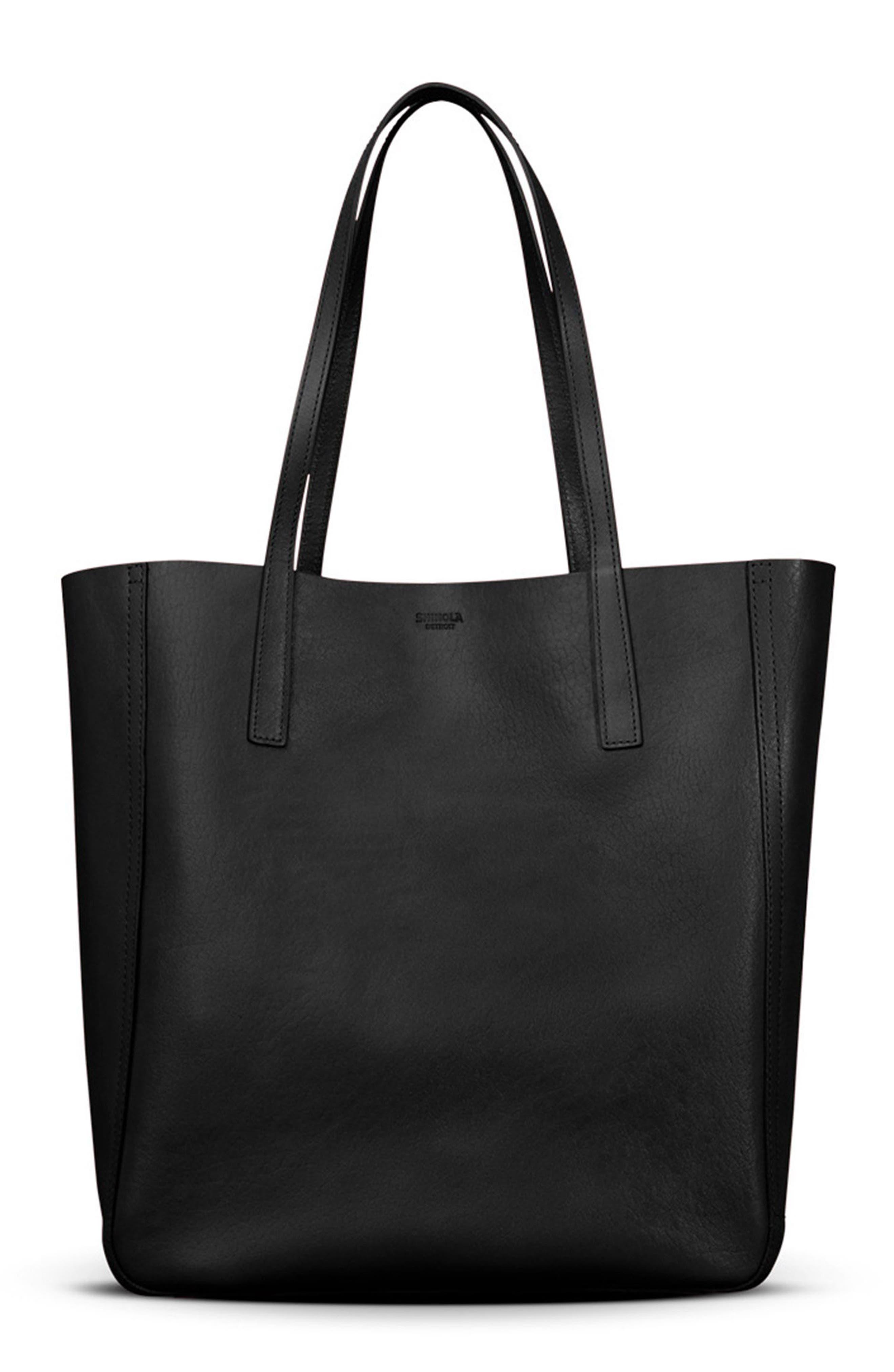Medium Leather Shopper,                             Alternate thumbnail 2, color,                             Black