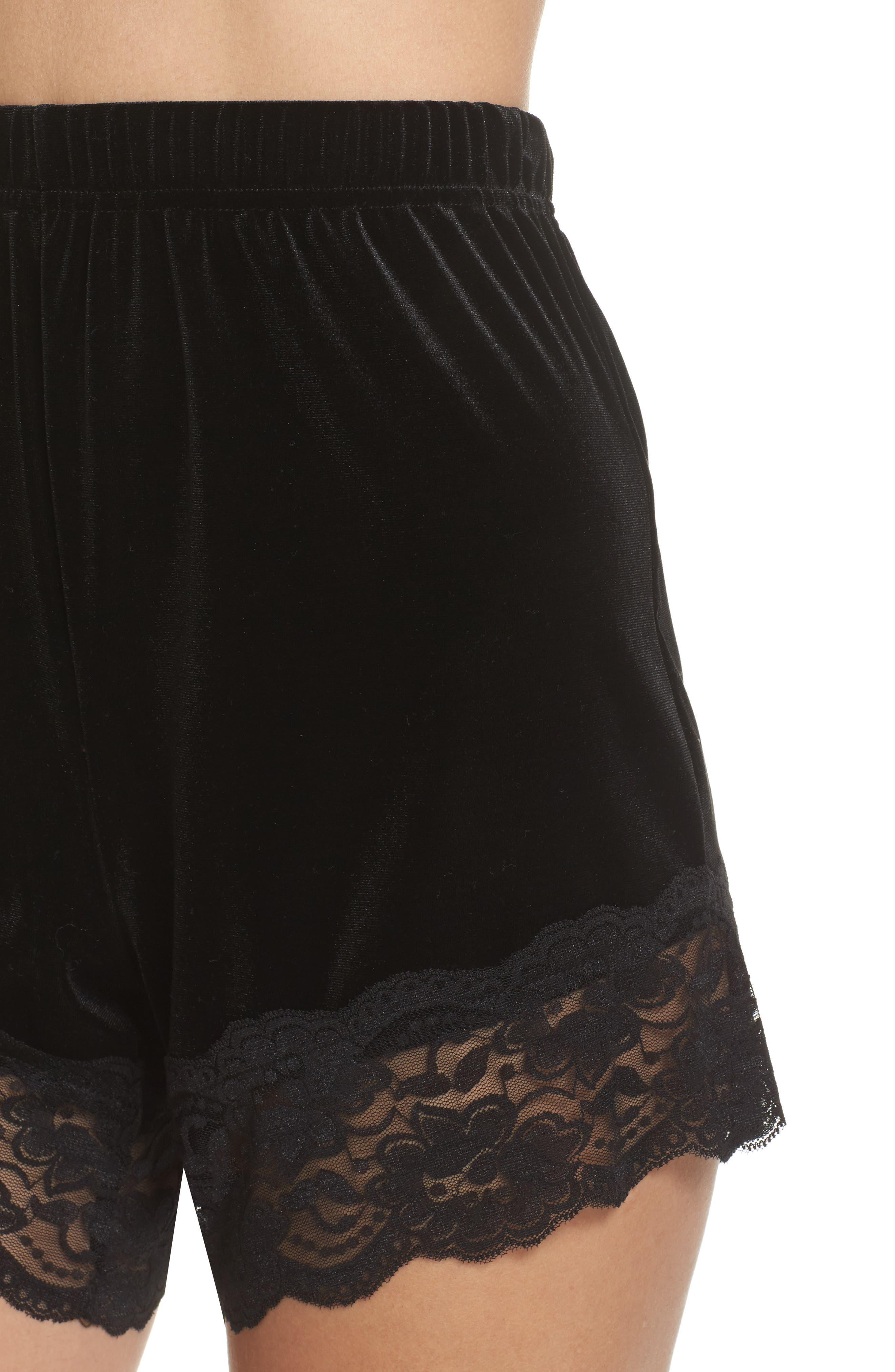 Alternate Image 5  - Topshop Lace Trim Velvet Lounge Shorts