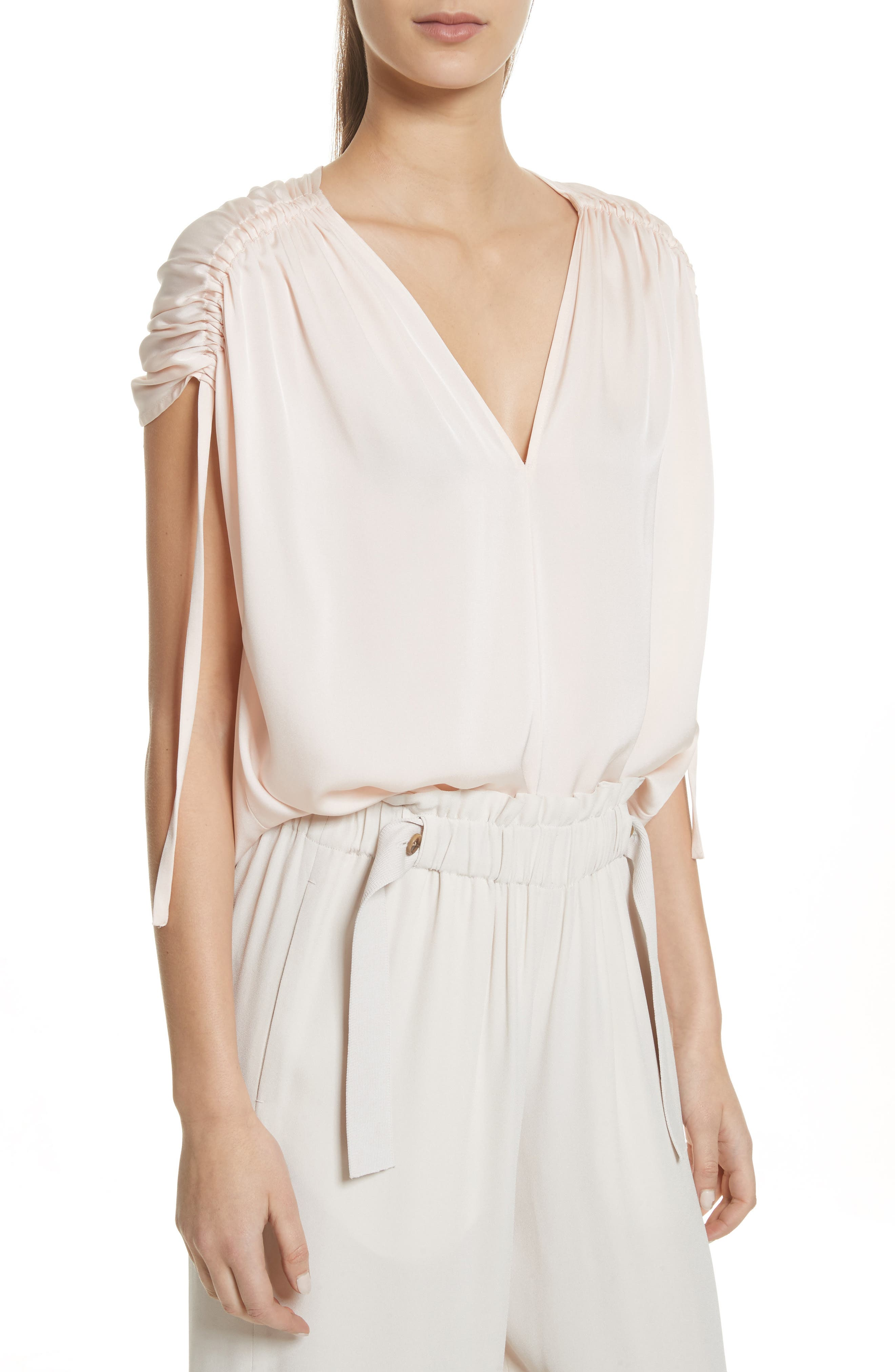 Ruched Silk Top,                         Main,                         color, Rosewater