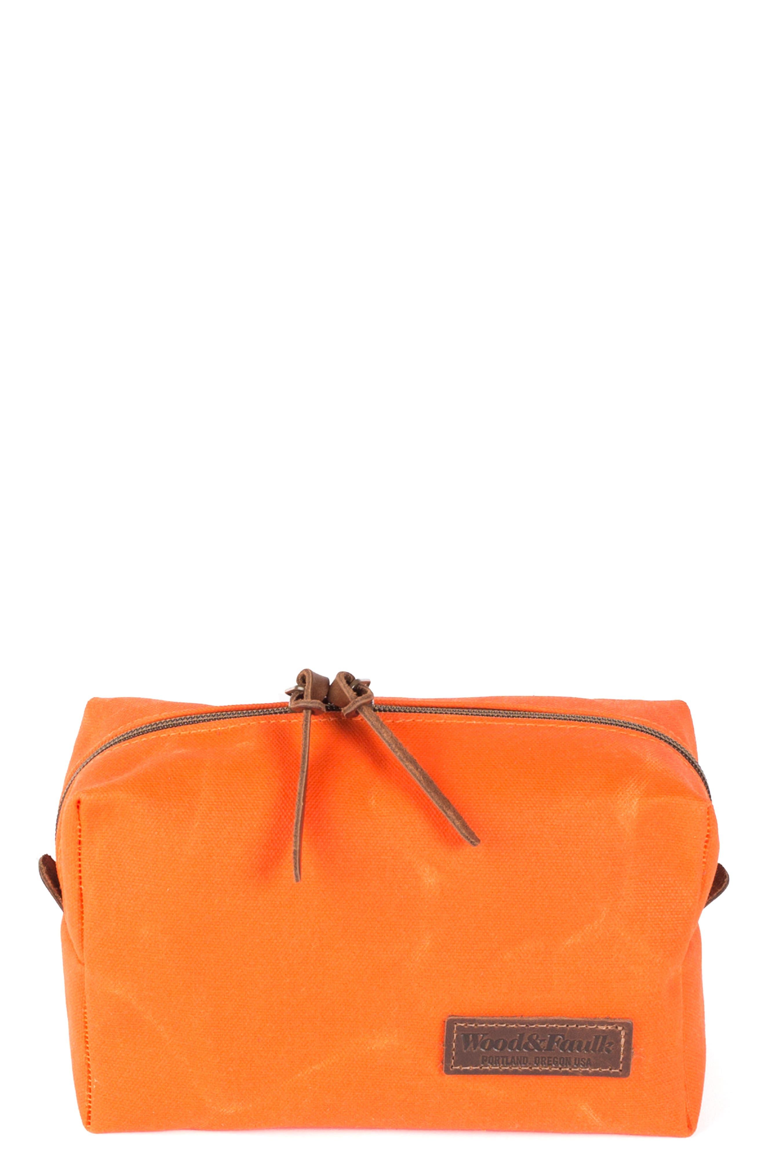 Traverse Waxed Canvas Dopp Kit,                         Main,                         color, Orange