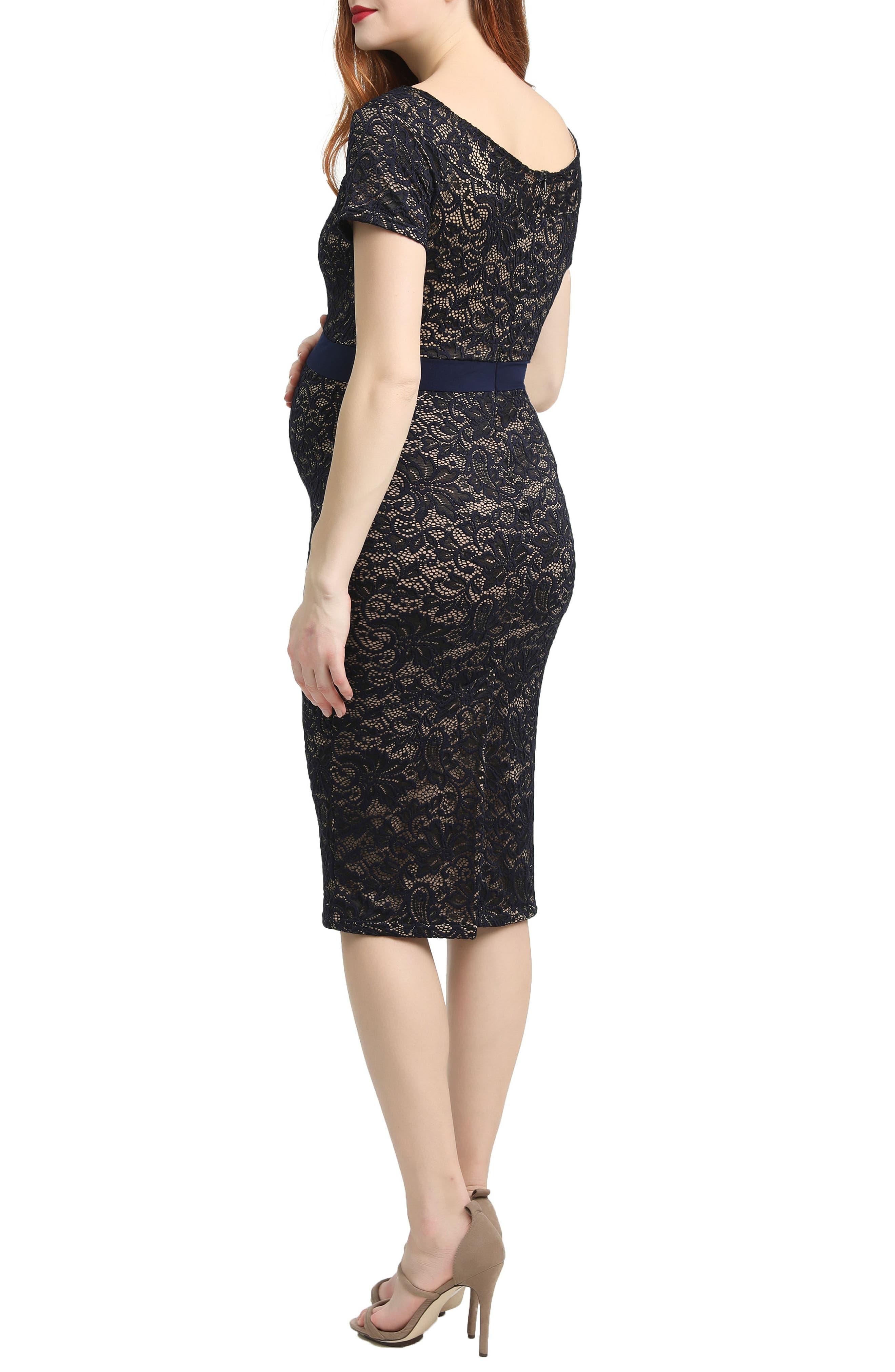 Kimi & Kai Lace Body-Con Maternity Dress,                             Alternate thumbnail 2, color,                             Navy