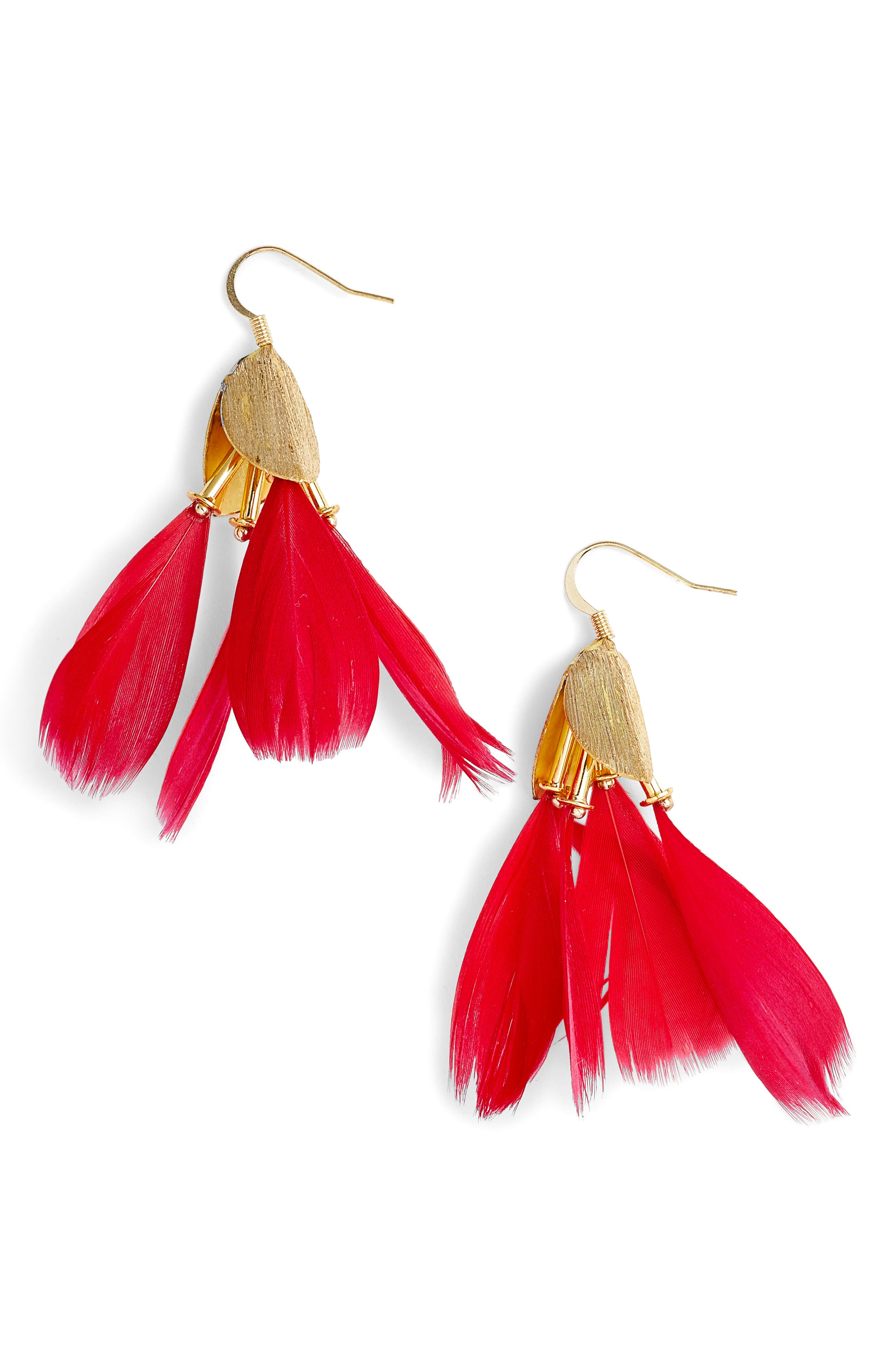 Dancing Feather Earrings,                         Main,                         color, Cherry