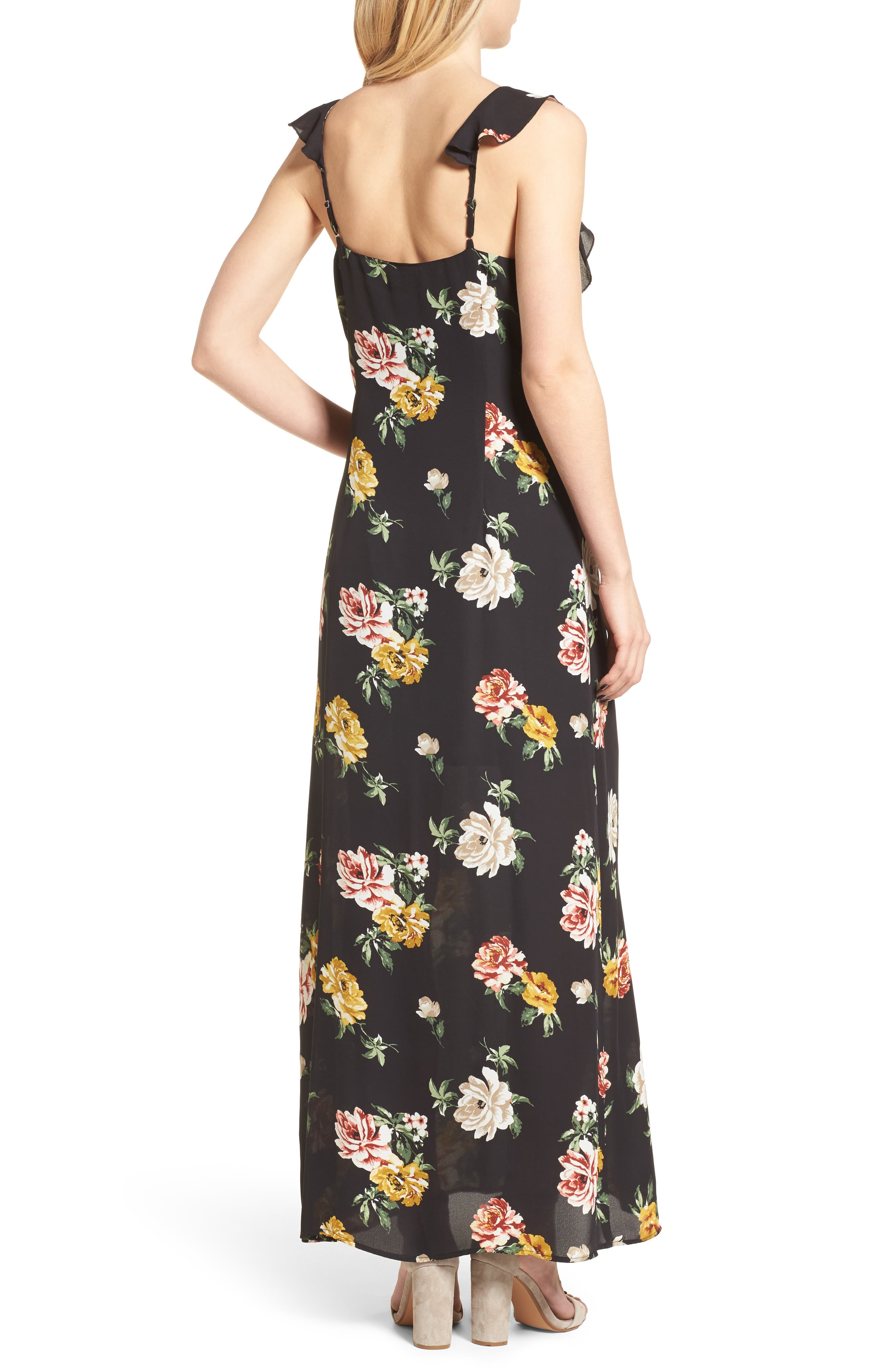 Floral Ruffle Strap Maxi Dress,                             Alternate thumbnail 2, color,                             Black Large Floral Print
