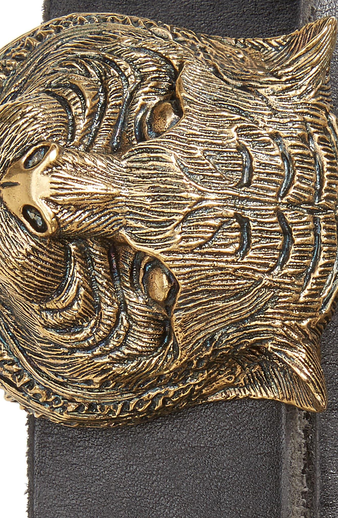 Tiger Head Leather Belt,                             Alternate thumbnail 2, color,                             Black