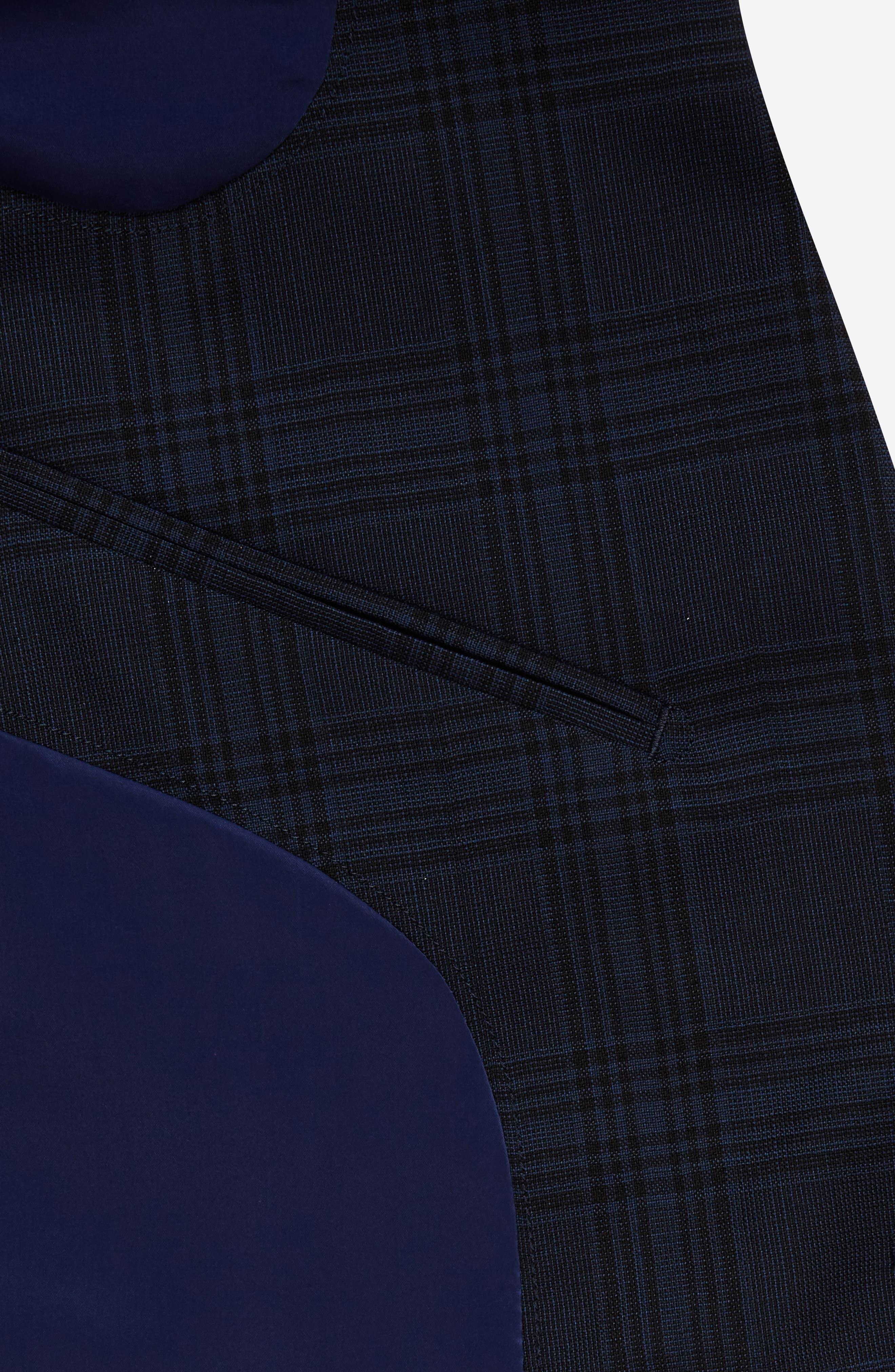 Jetsetter Trim Fit Stretch Plaid Wool Blend Suit Jacket,                             Alternate thumbnail 4, color,                             Navy Plaid