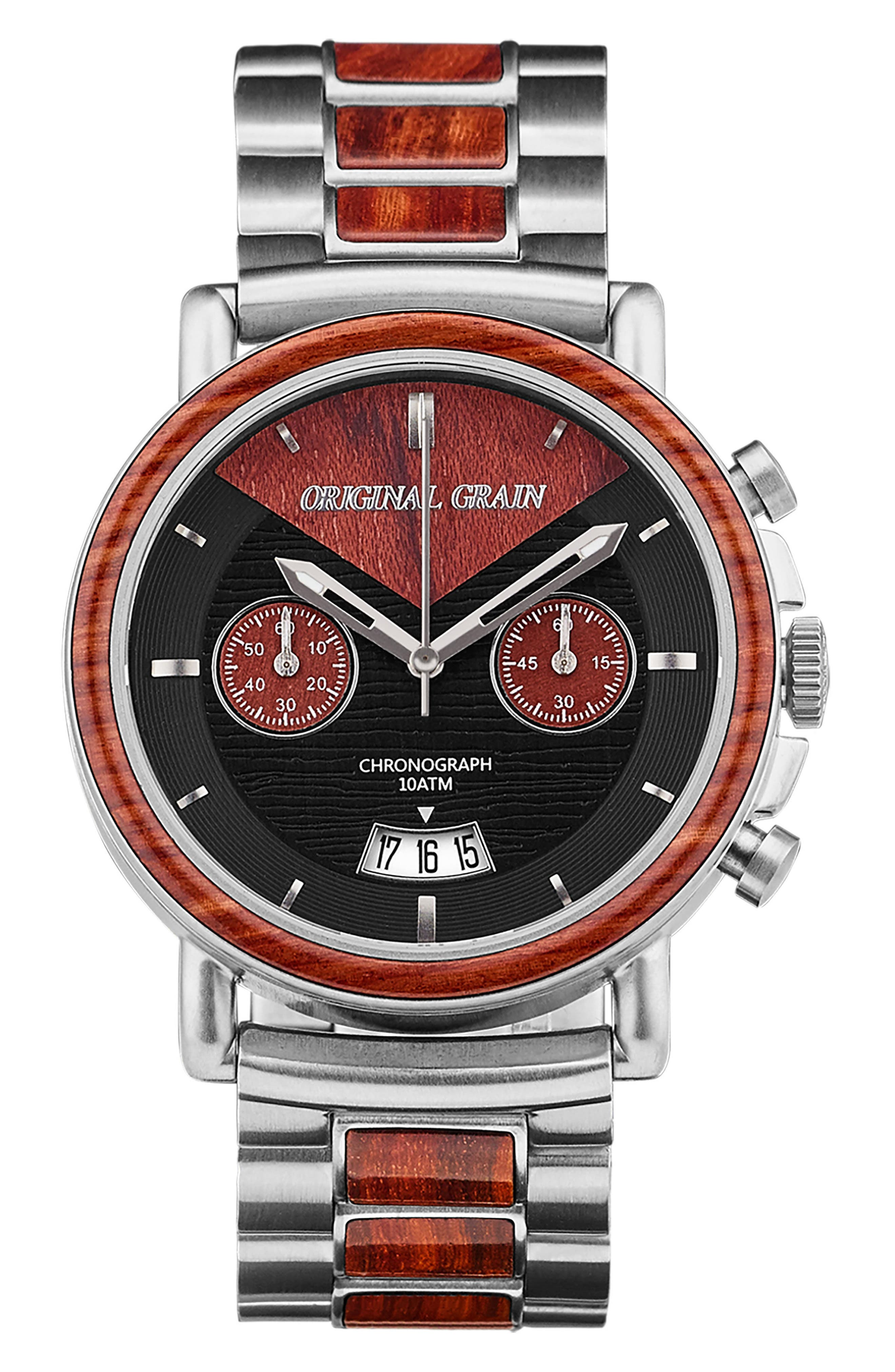 Alterra Chronograph Bracelet Watch,                             Main thumbnail 1, color,                             Rosewood/ Brushed Silver