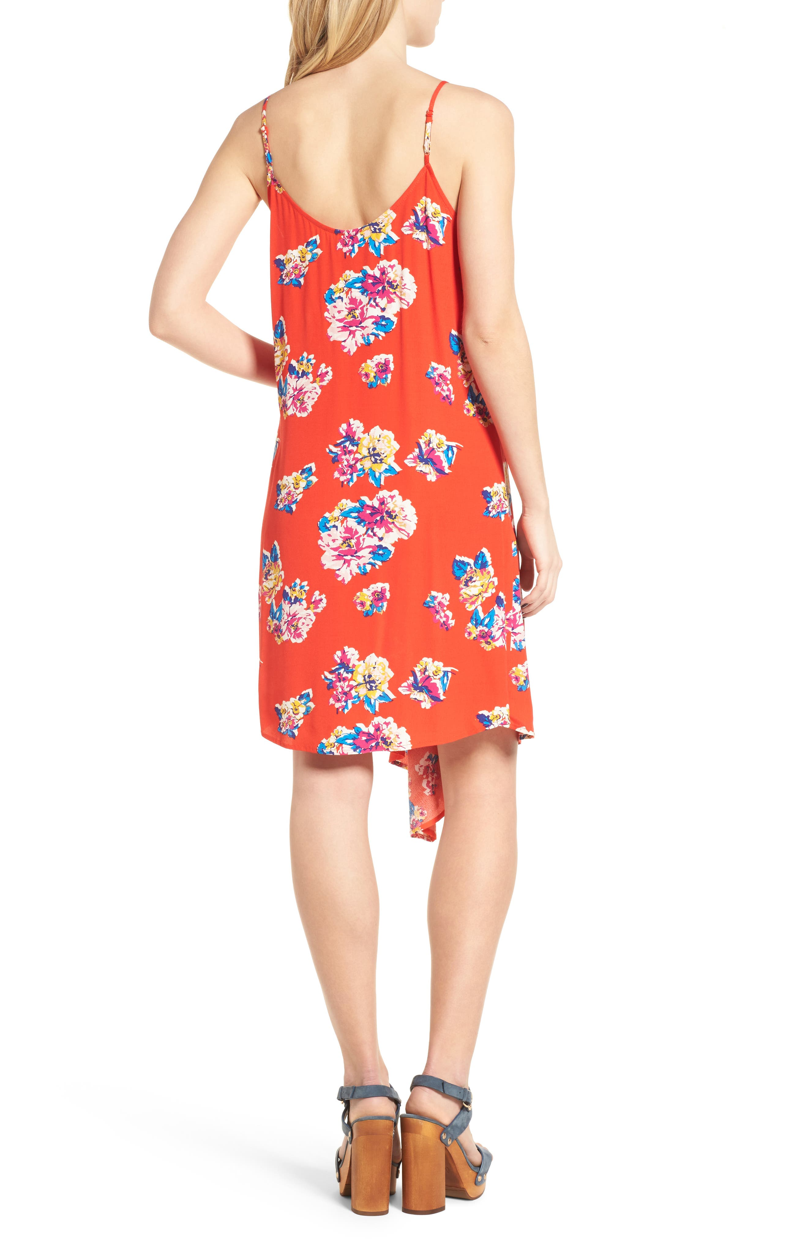 Asymmetrical Floral Print Dress,                             Alternate thumbnail 2, color,                             Red Fiery Bold Bloom