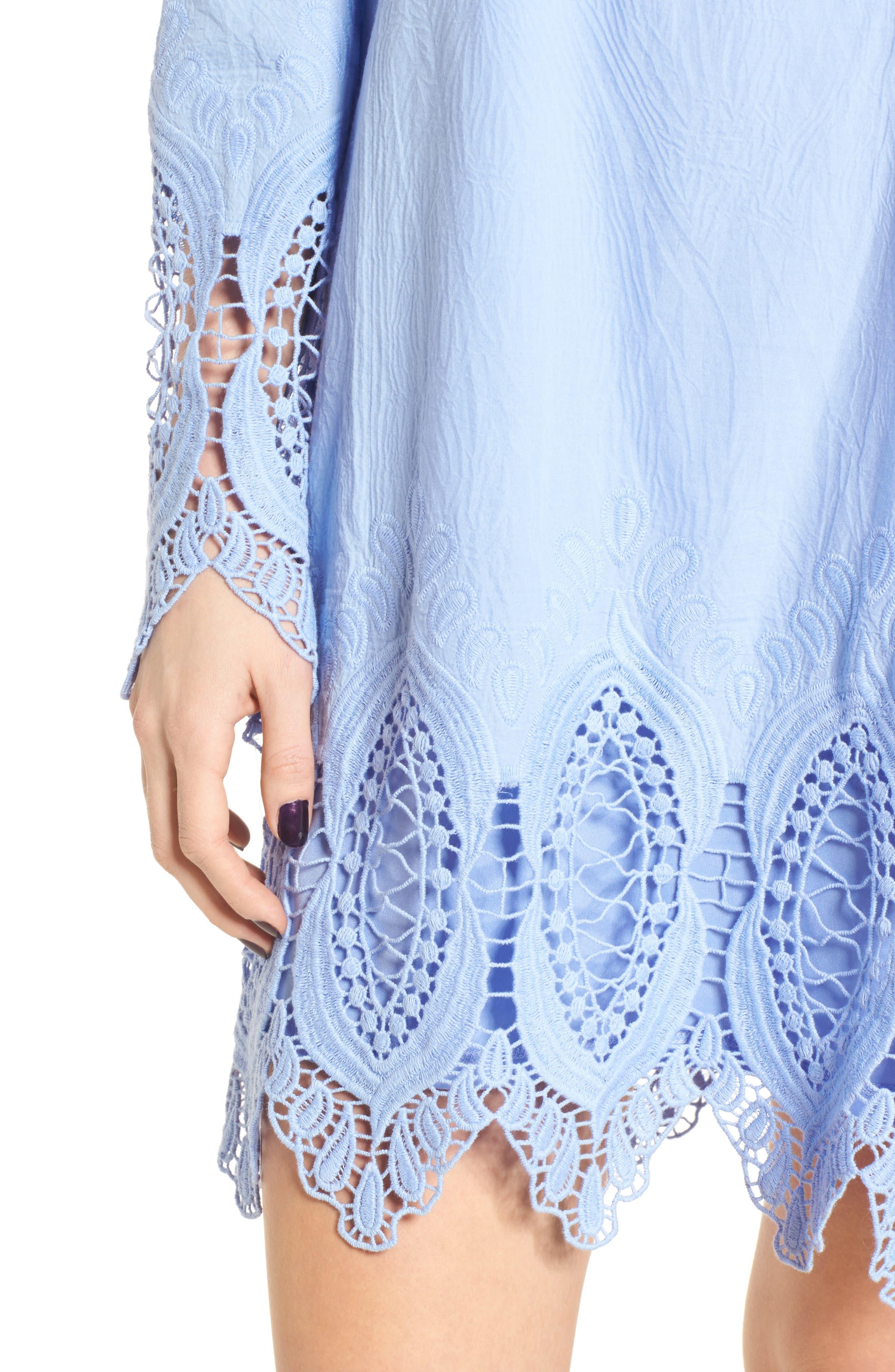 Lace Trim Off the Shoulder Dress,                             Alternate thumbnail 4, color,                             Blue Powder
