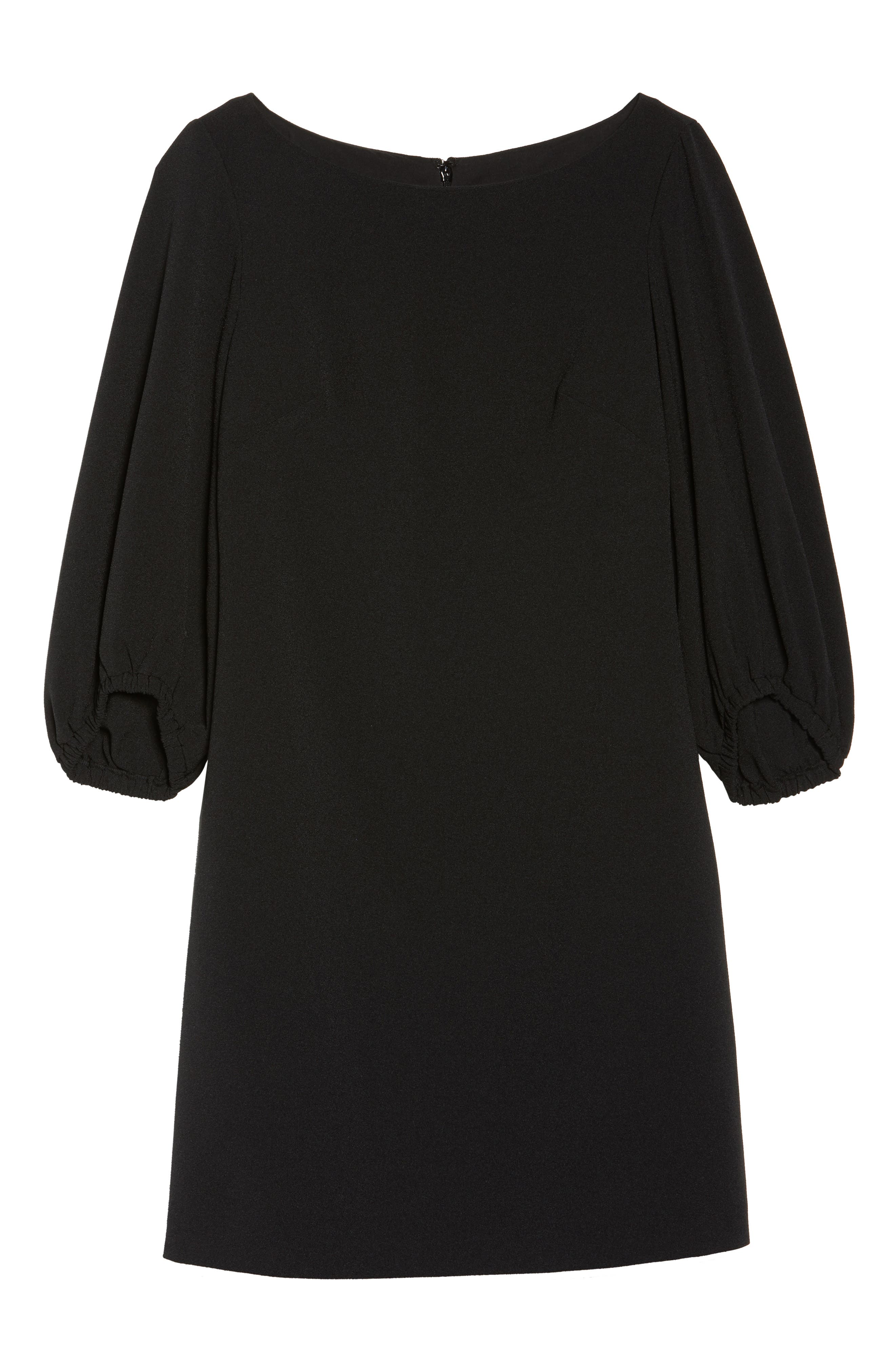 Bloused Sleeve Shift Dress,                             Alternate thumbnail 6, color,                             Black
