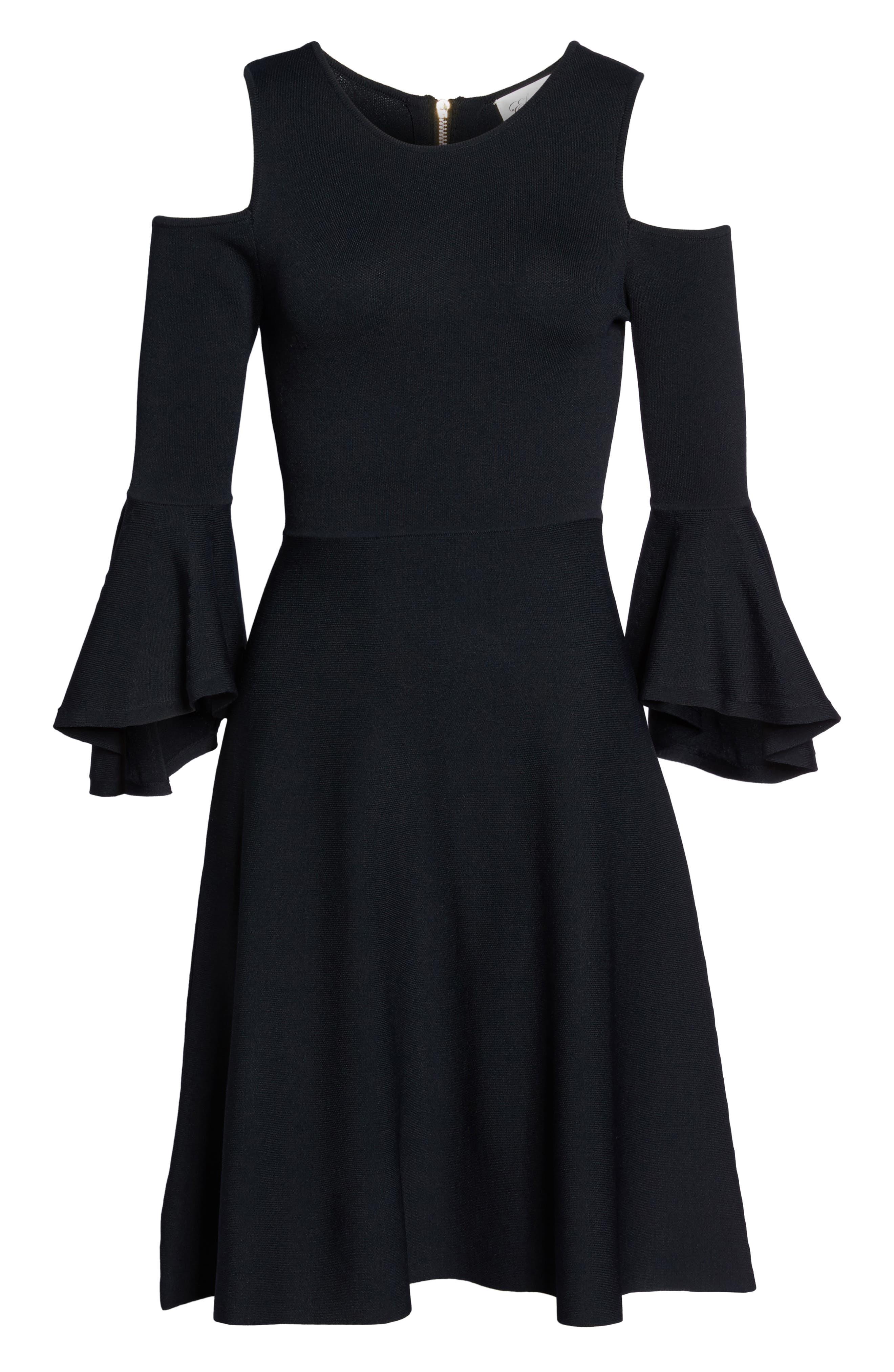Cold Shoulder Fit & Flare Dress,                             Alternate thumbnail 6, color,                             Black
