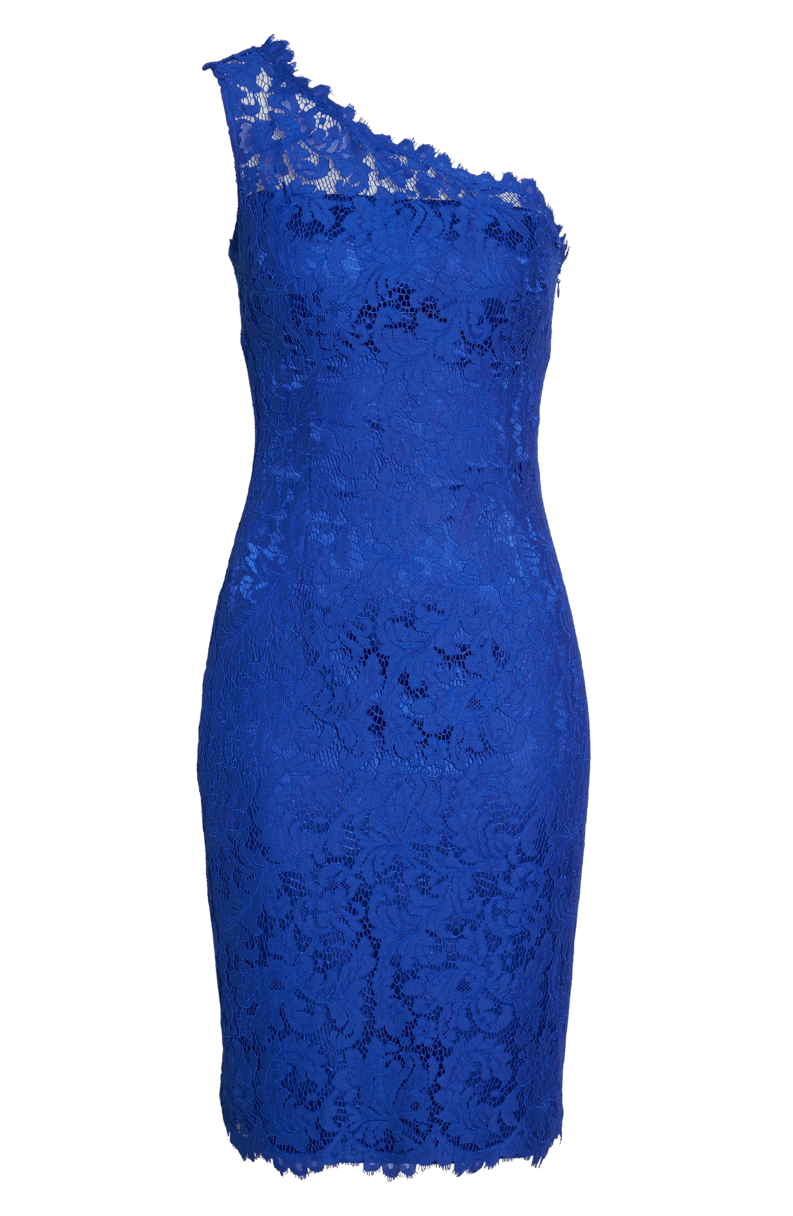 One-Shoulder Lace Sheath Dress,                             Alternate thumbnail 6, color,                             Royal
