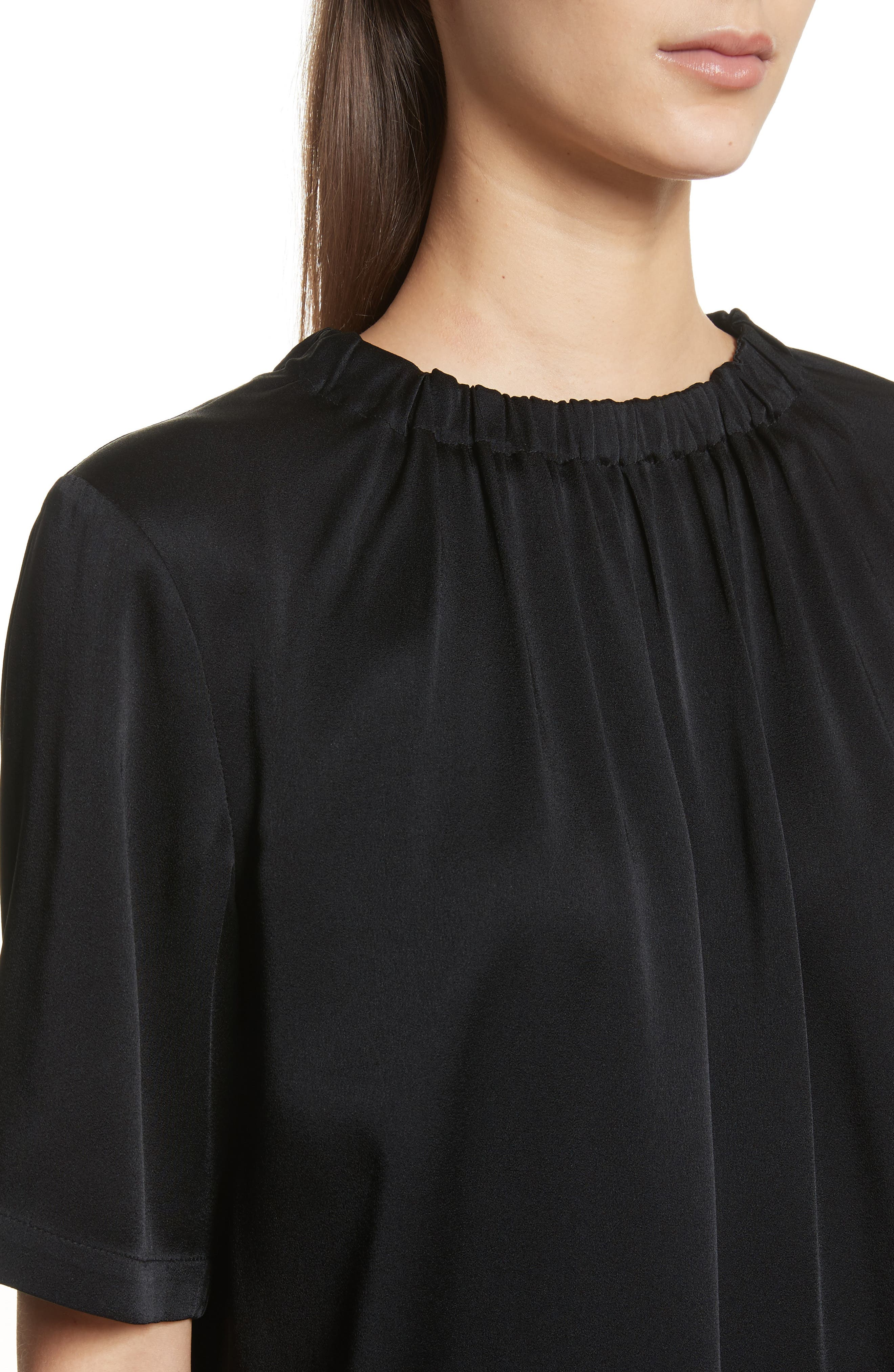 Gathered Neck Short Sleeve Top,                             Alternate thumbnail 4, color,                             Black