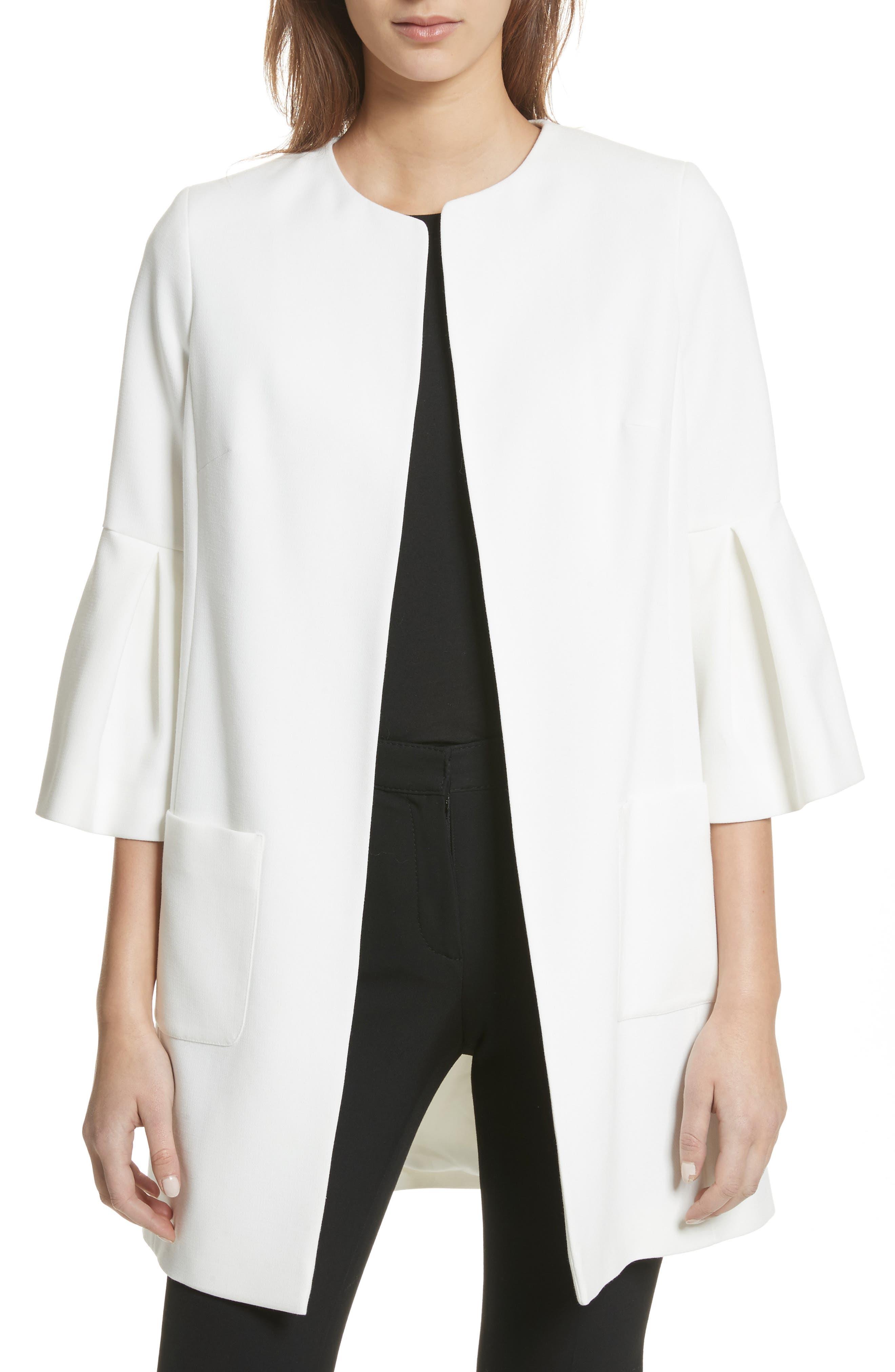 HELENE BERMAN Open Front Flared Sleeve Jacket in Ivory
