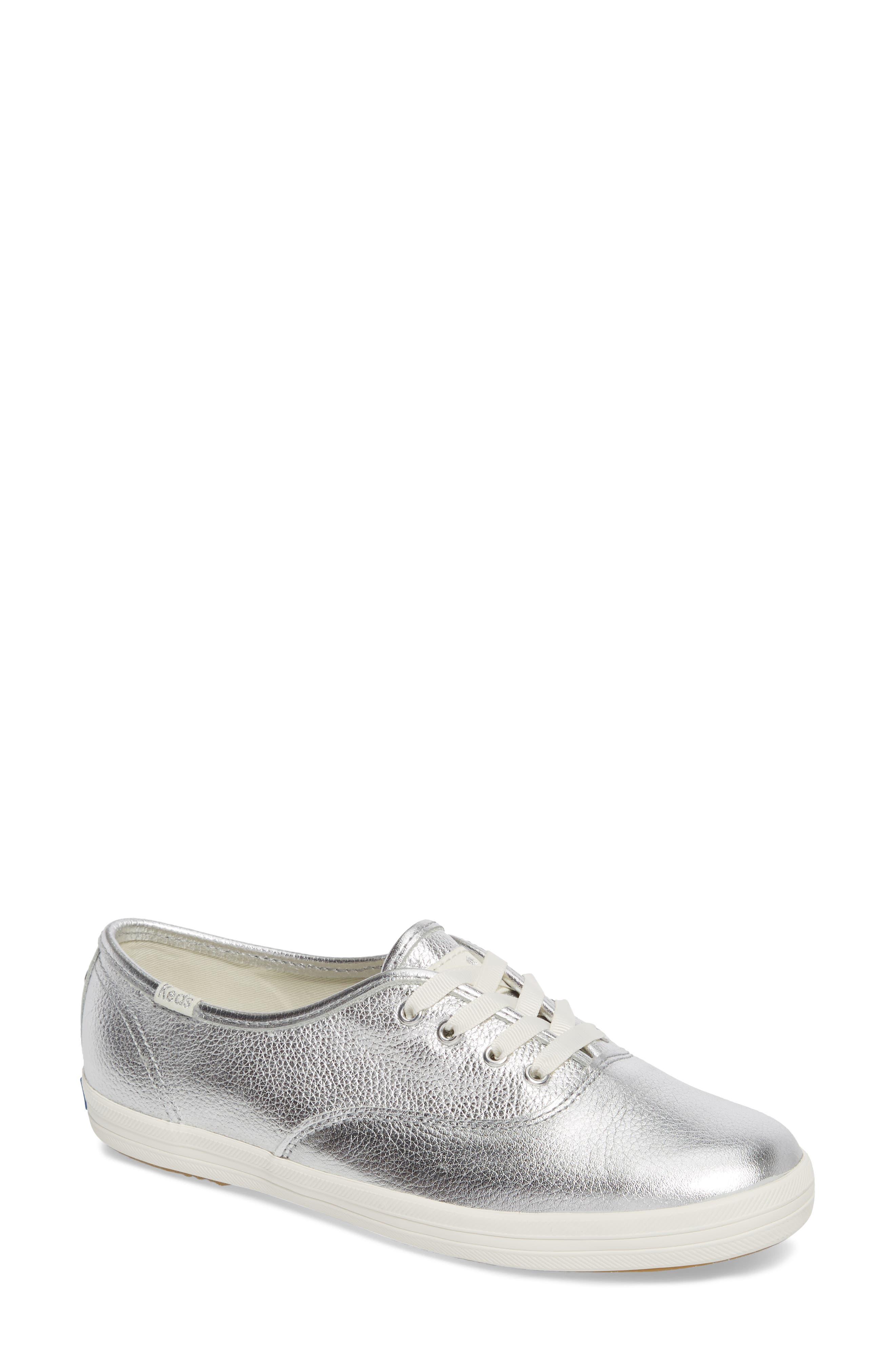 metallic sneaker,                             Main thumbnail 1, color,                             Silver Leather