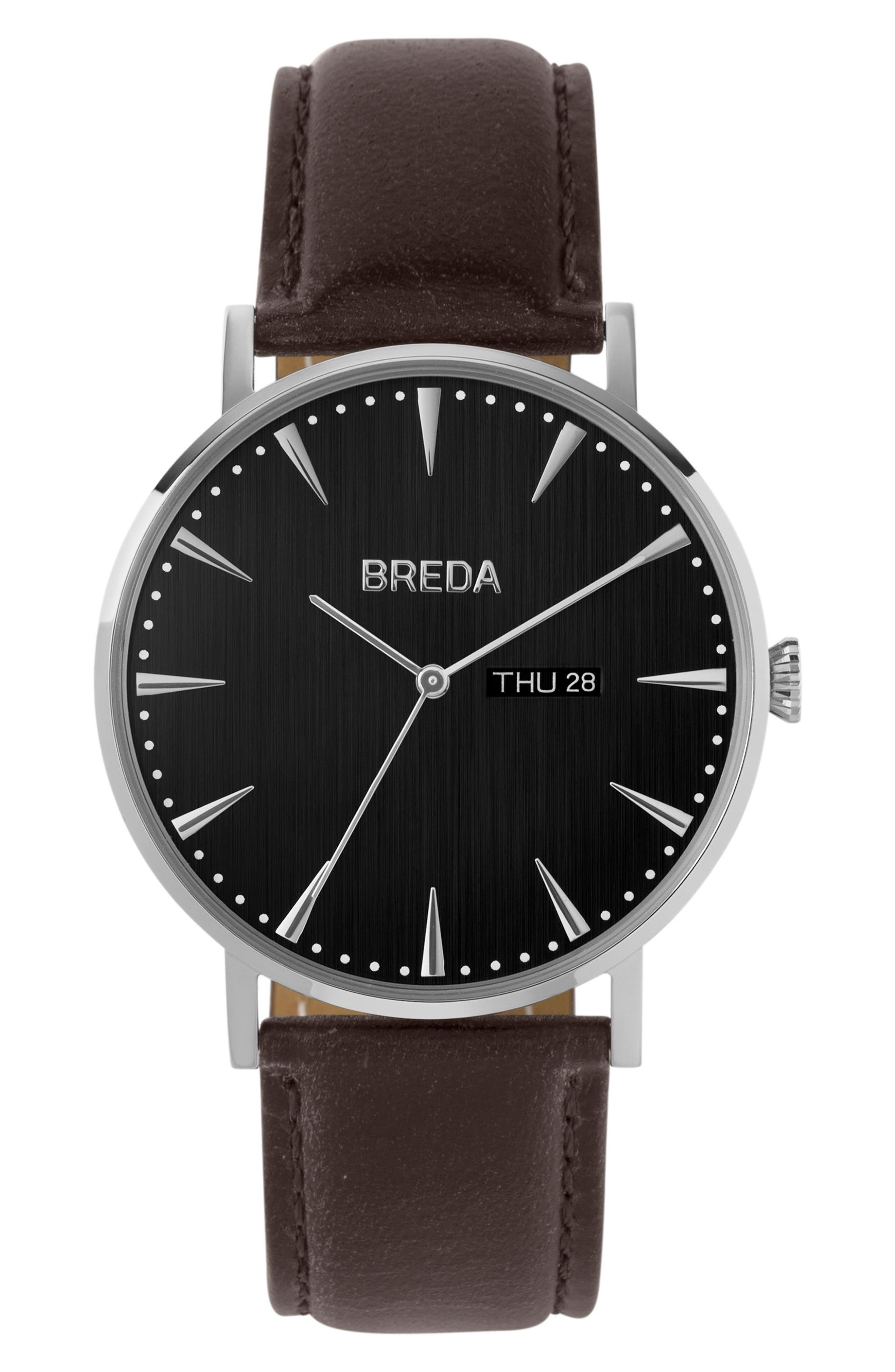 BREDA Eero Round Leather Strap Watch, 42mm