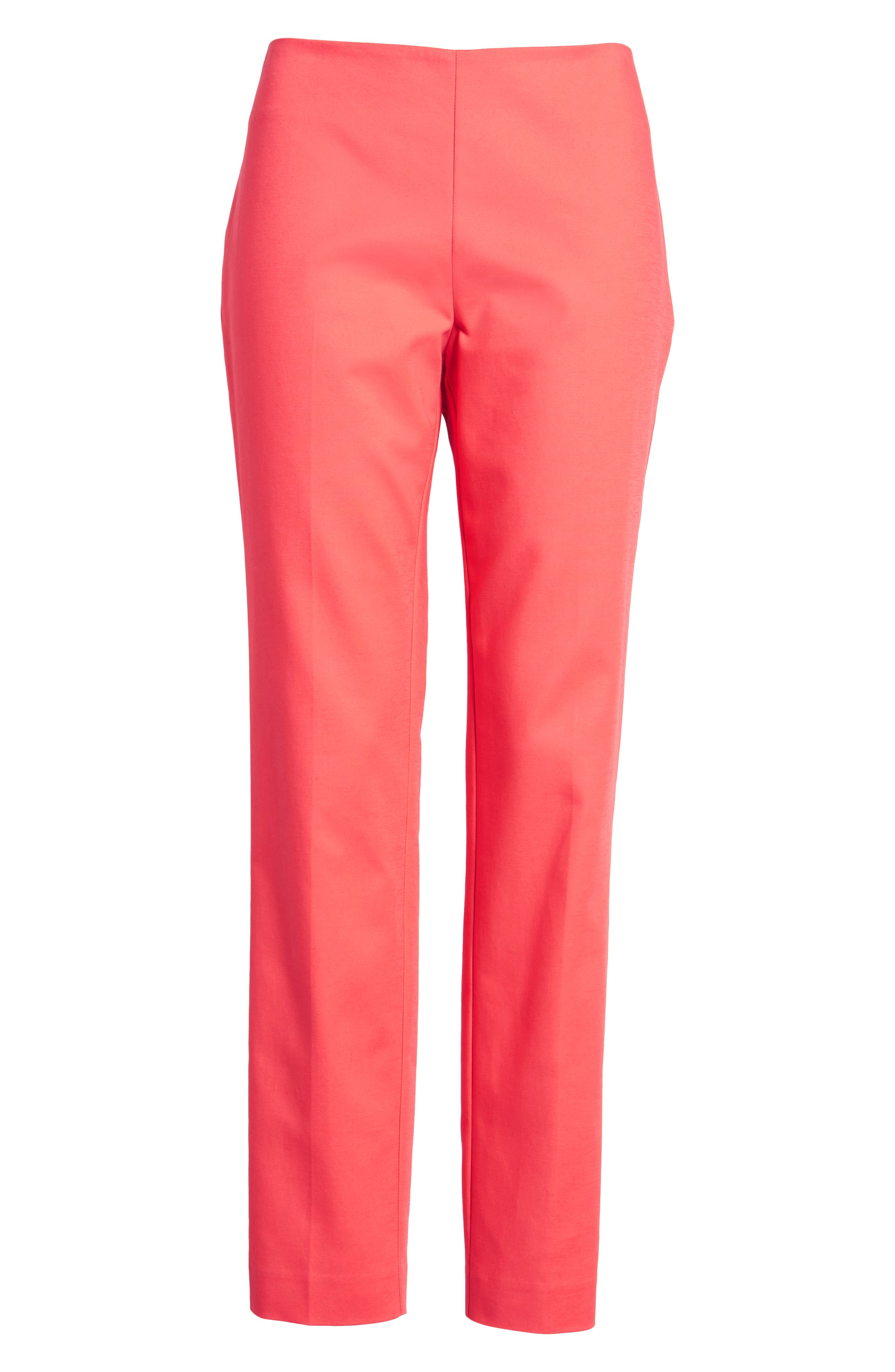 Stretch Cotton Skinny Pants,                             Alternate thumbnail 7, color,                             Melon