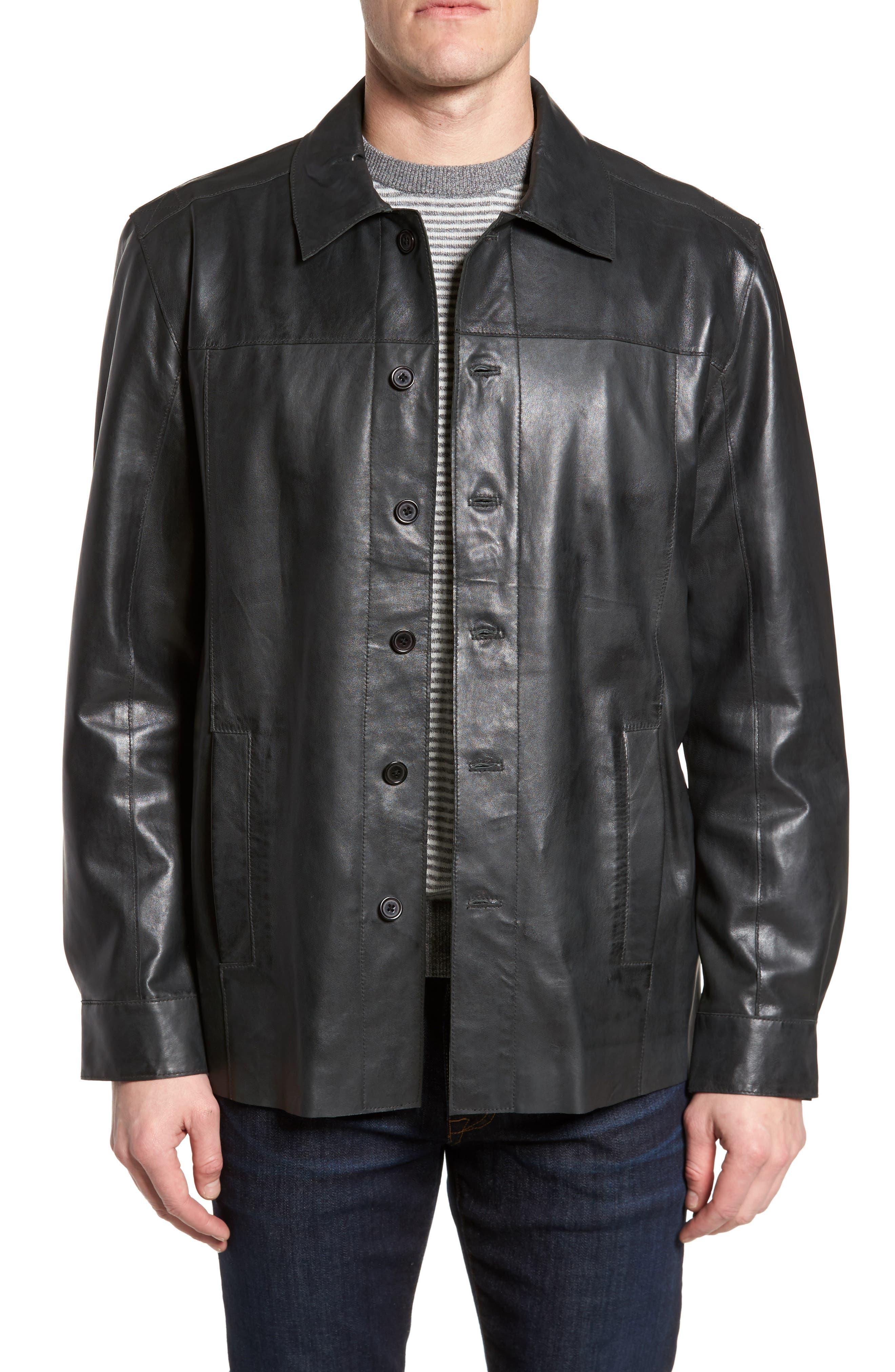 Vintage Leather Sport Coat,                             Main thumbnail 1, color,                             Black