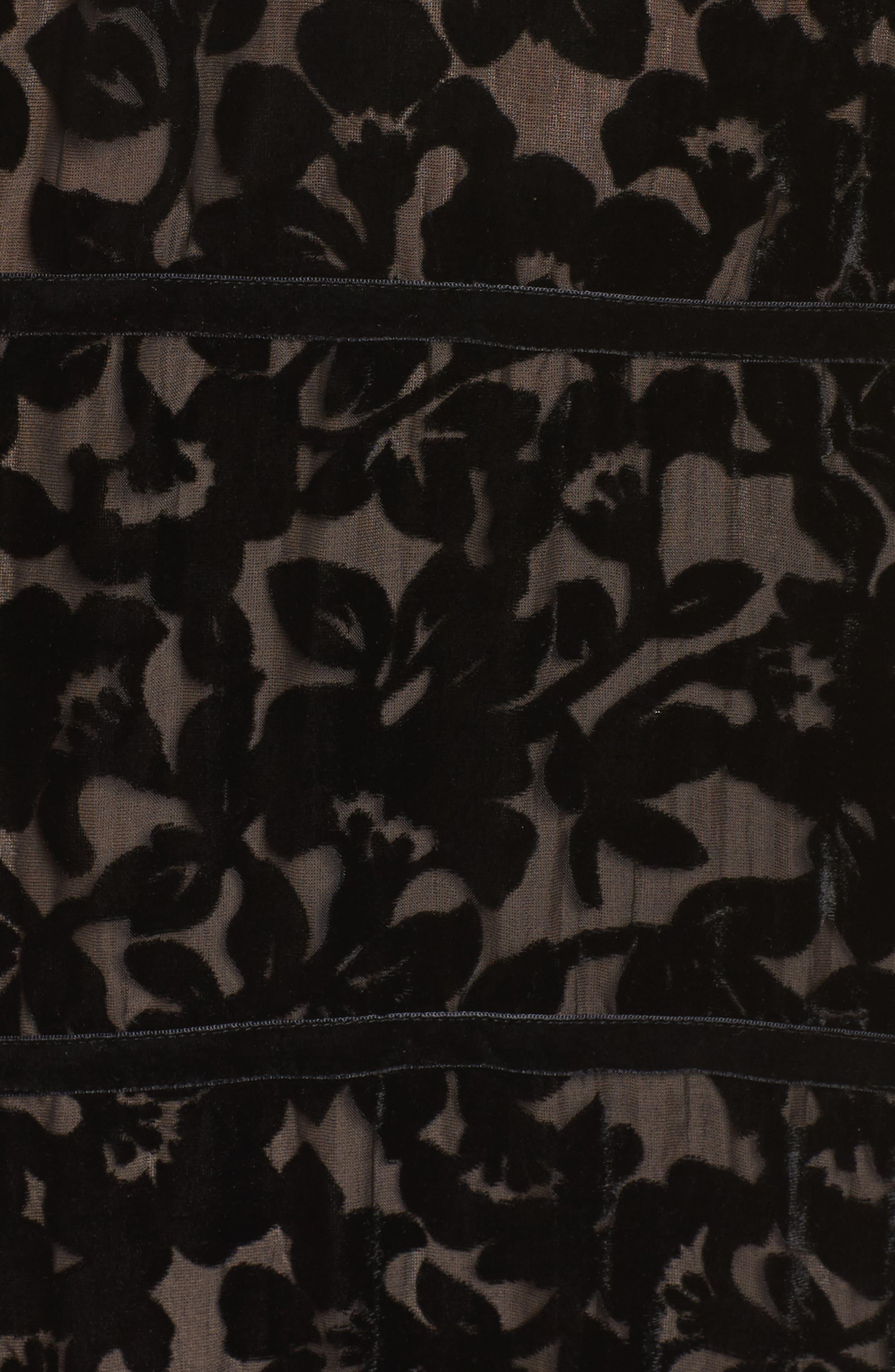 Ingrid Velvet Devoré Midi Dress,                             Alternate thumbnail 5, color,                             Black