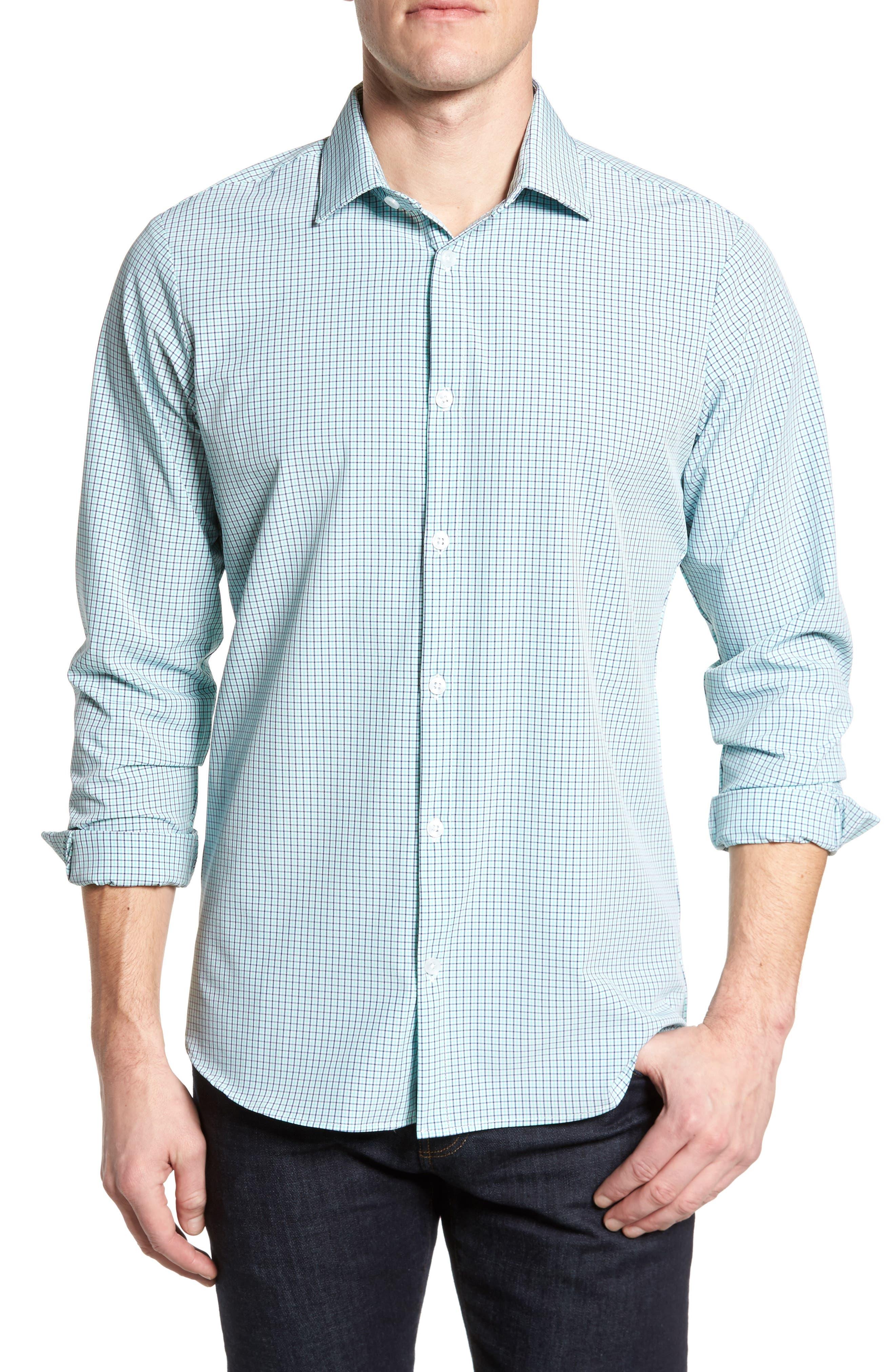 Ventura Check Sport Shirt,                             Main thumbnail 1, color,                             Green
