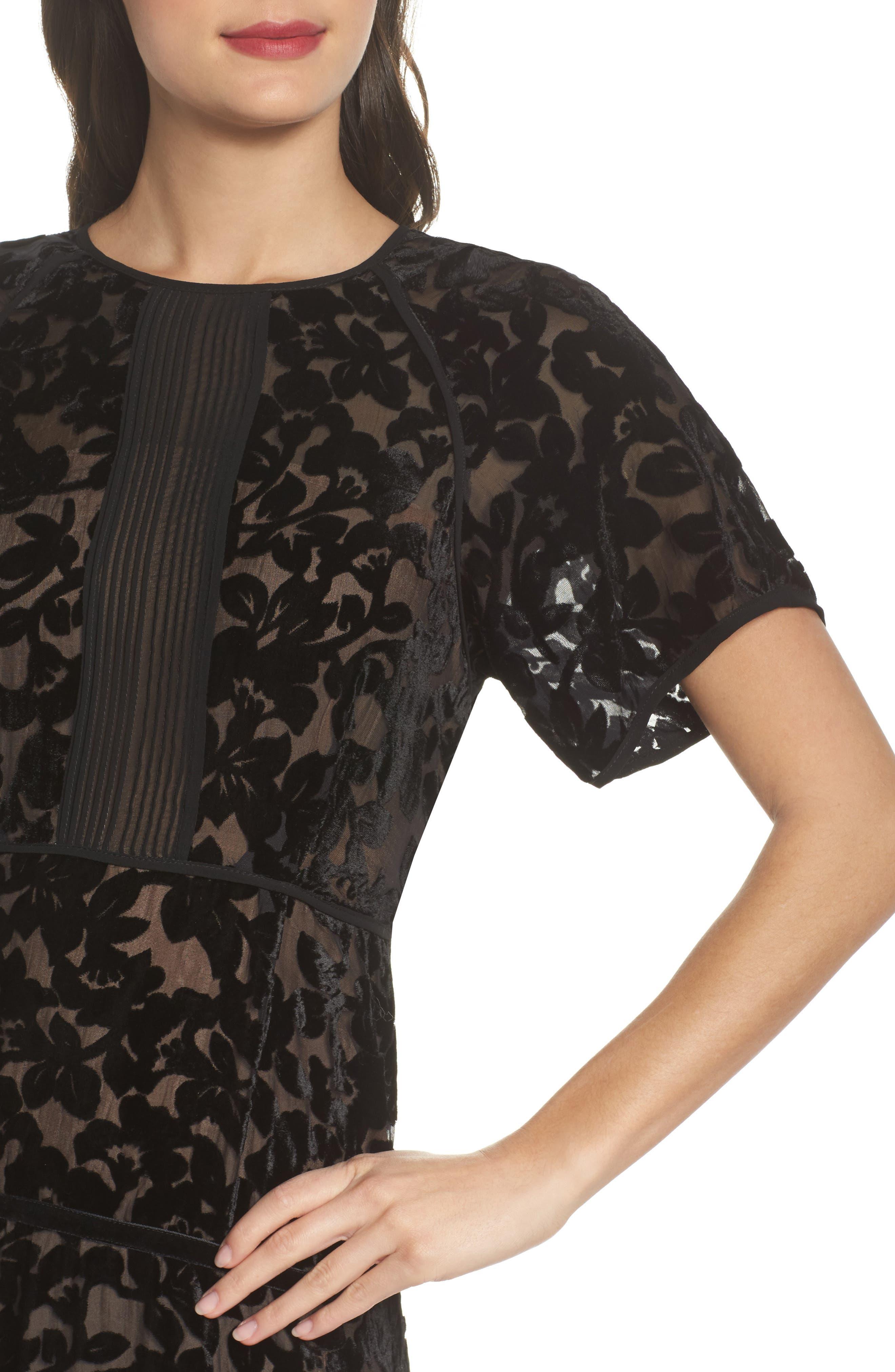 Ingrid Velvet Devoré Midi Dress,                             Alternate thumbnail 4, color,                             Black