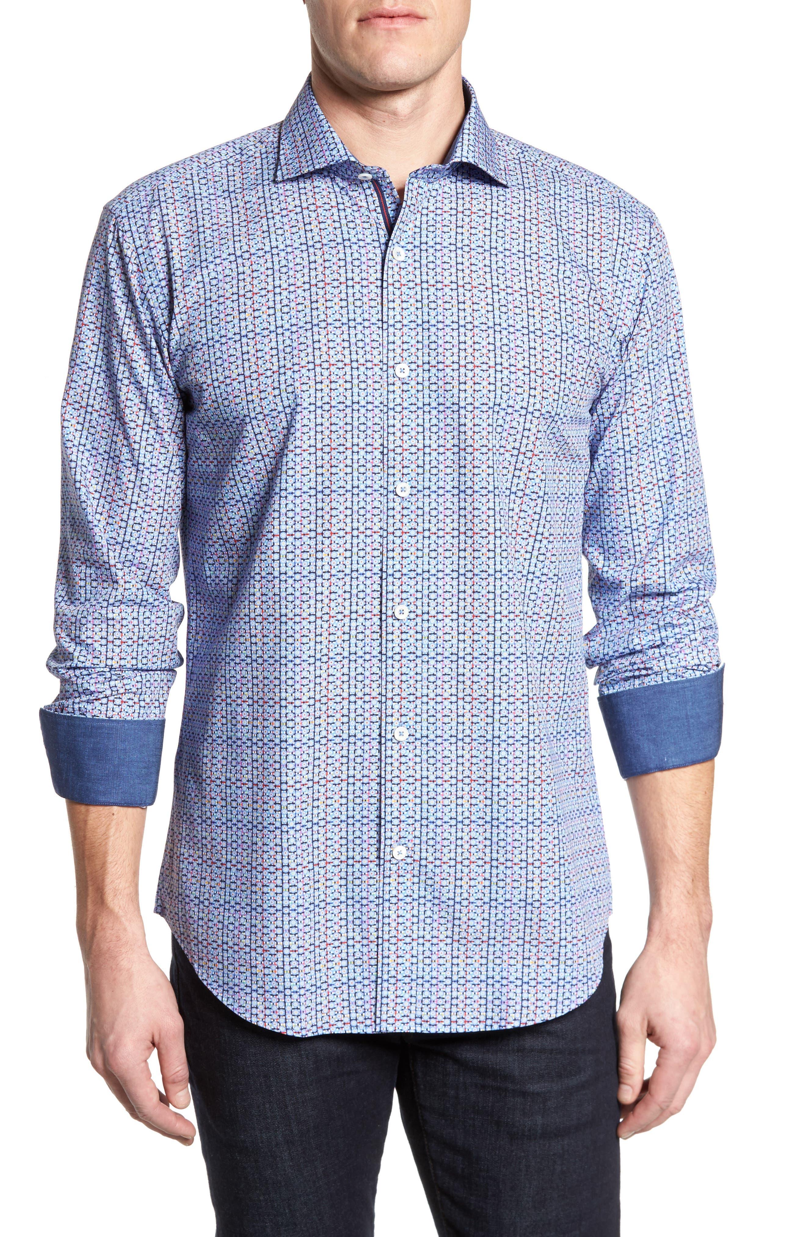 Shaped Fit Print Sport Shirt,                         Main,                         color, Periwinkle