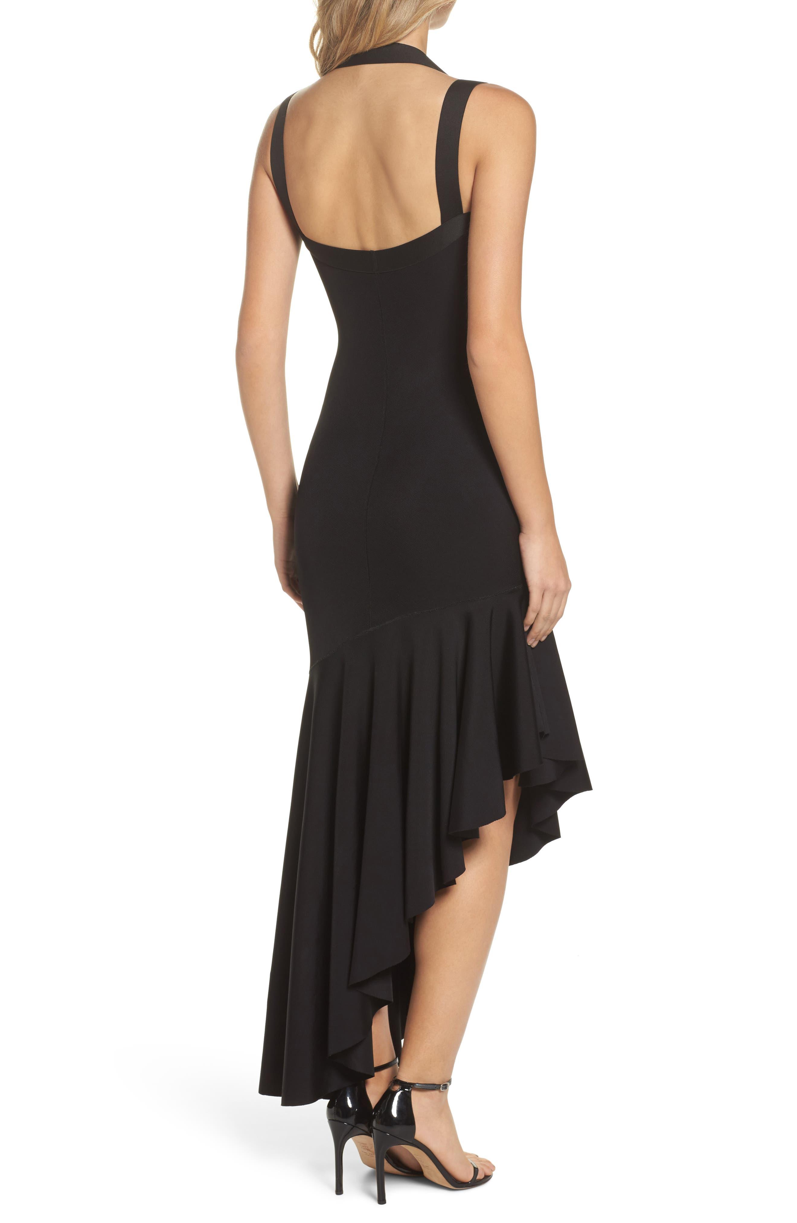 Tara High/Low Knit Dress,                             Alternate thumbnail 2, color,                             Black