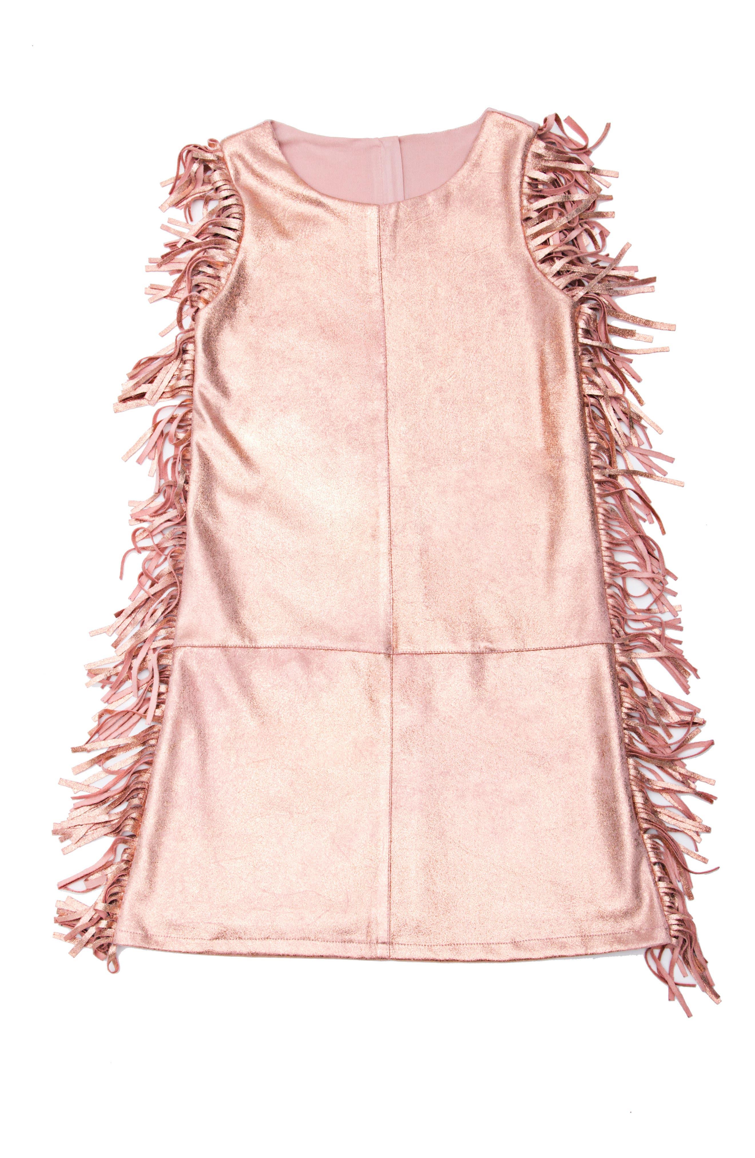 Metallic Fringe Dress,                             Main thumbnail 1, color,                             Rose Gold