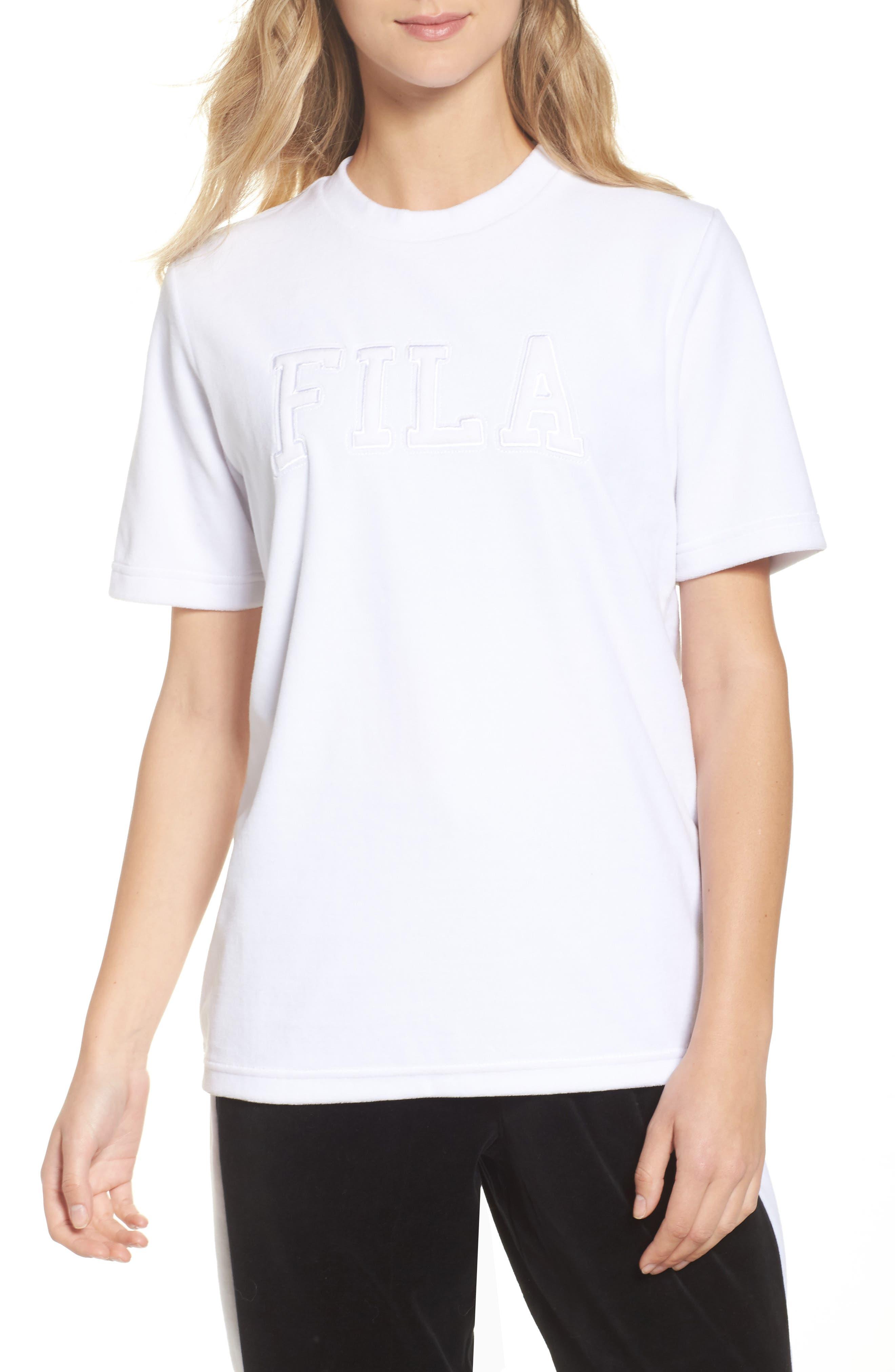 Velour Logo Tee,                         Main,                         color, White