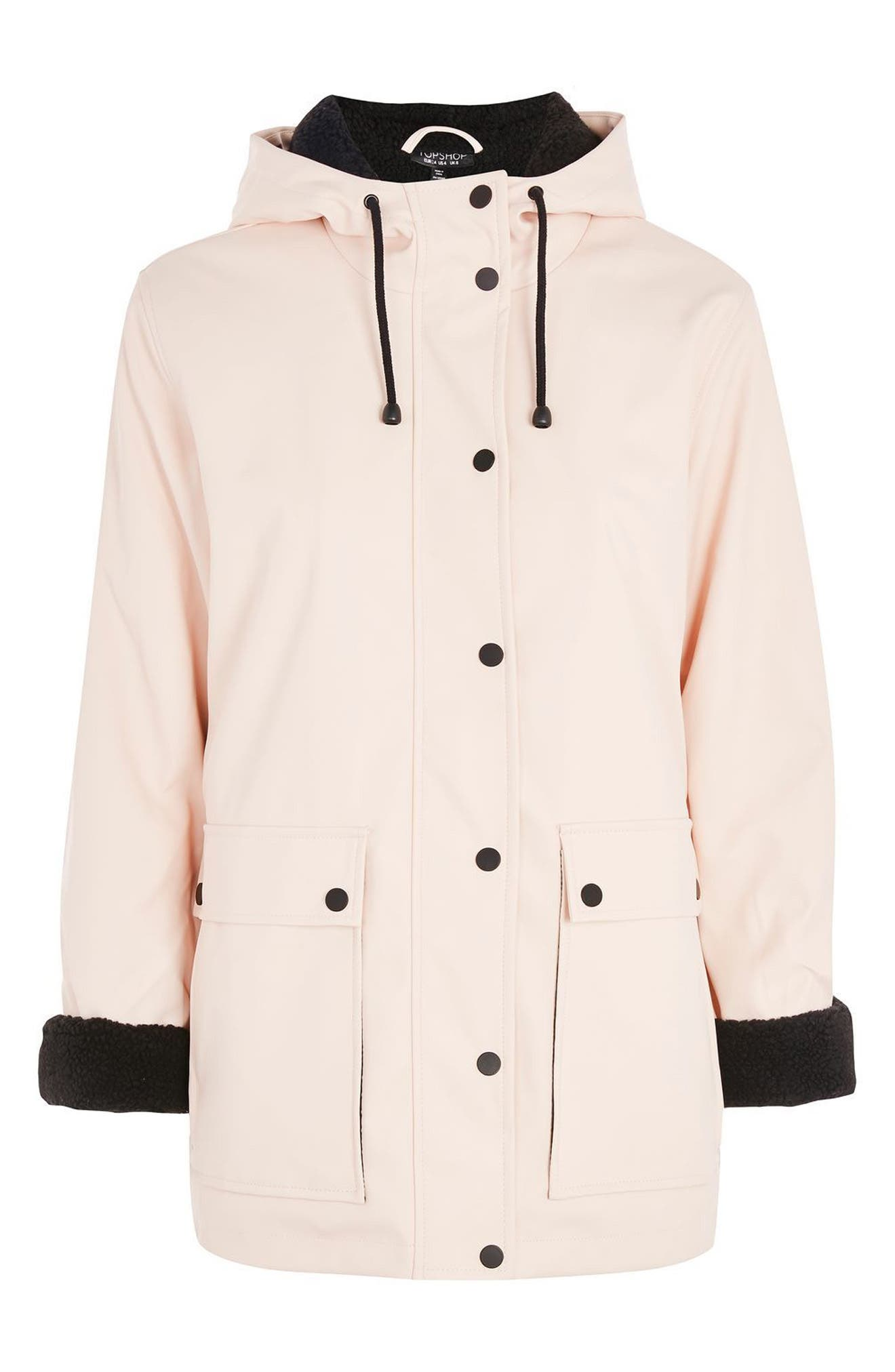 Hooded Raincoat,                             Alternate thumbnail 4, color,                             Light Pink Multi